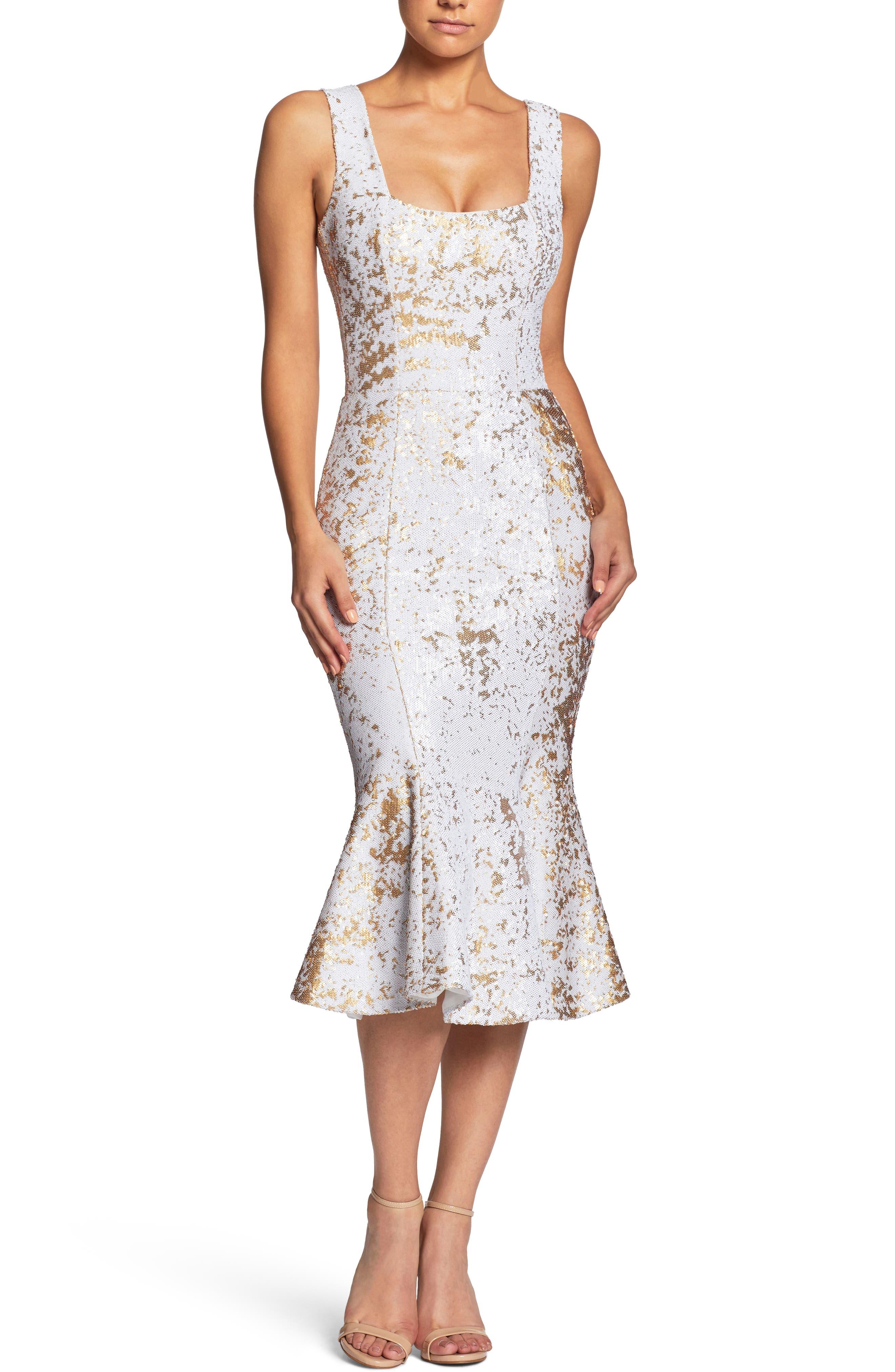 Fiona Sequin Trumpet Dress,                         Main,                         color, White/ Gold