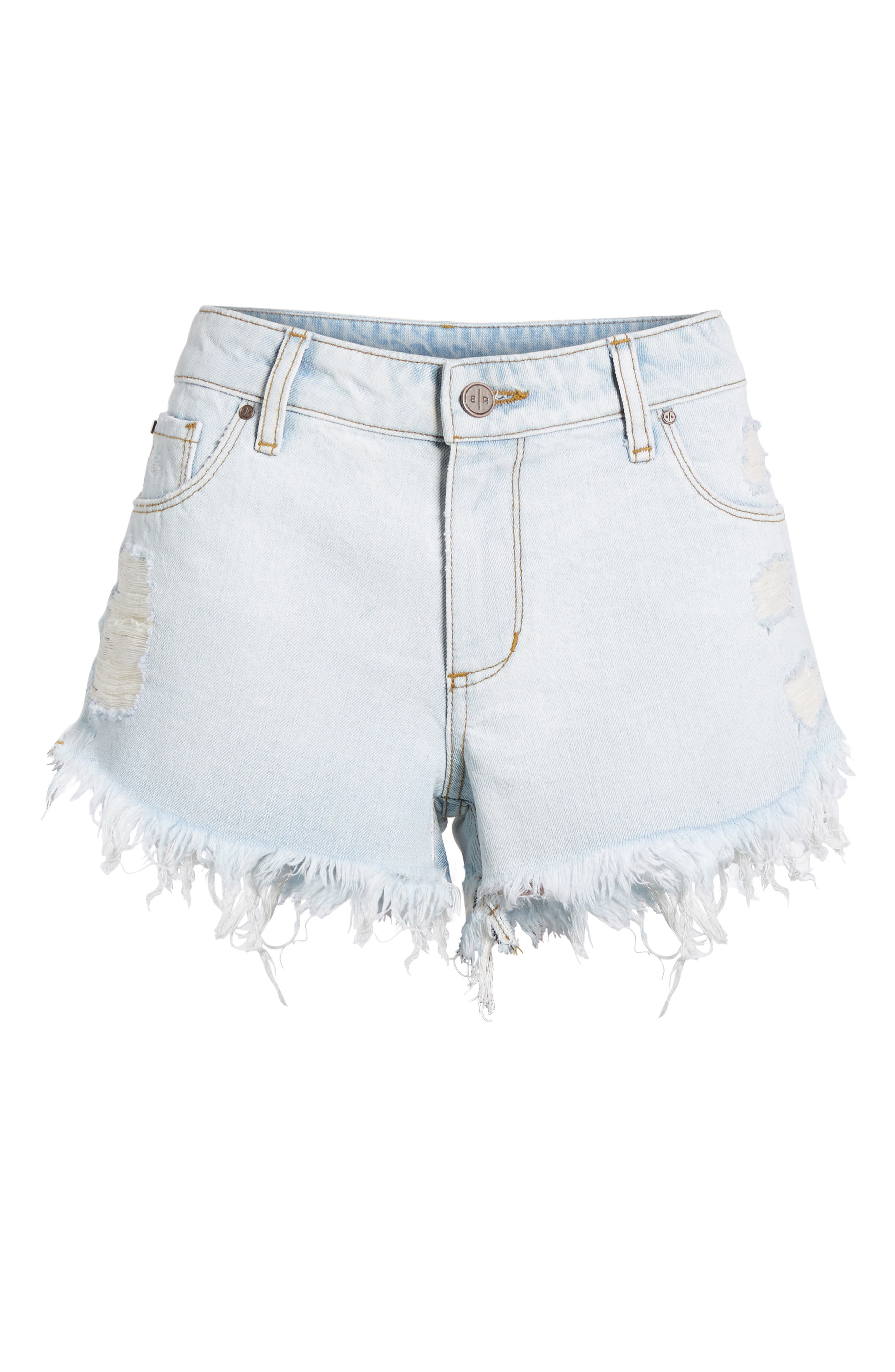 Fray Hem Denim Shorts,                             Alternate thumbnail 6, color,                             Light Wash