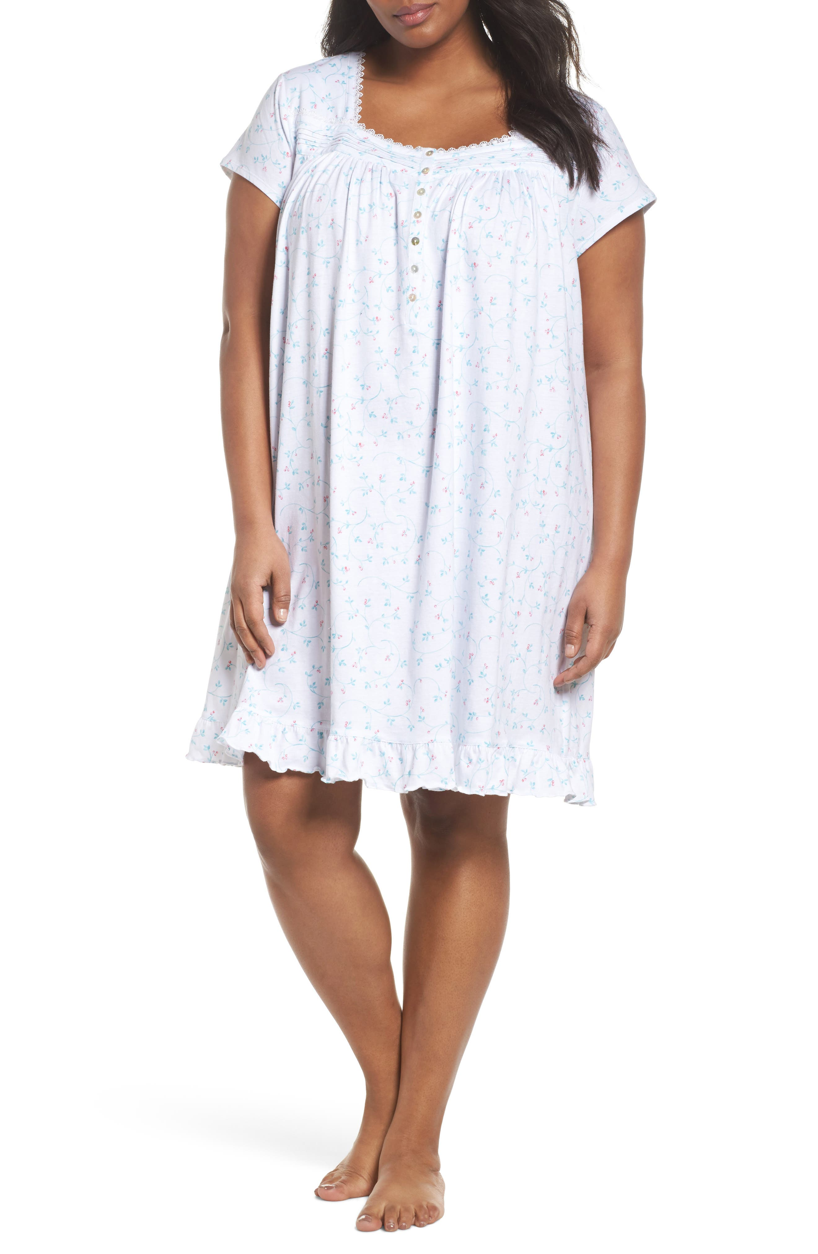 Cotton Jersey Short Nightgown,                         Main,                         color, White Aqua/ Pink Berries