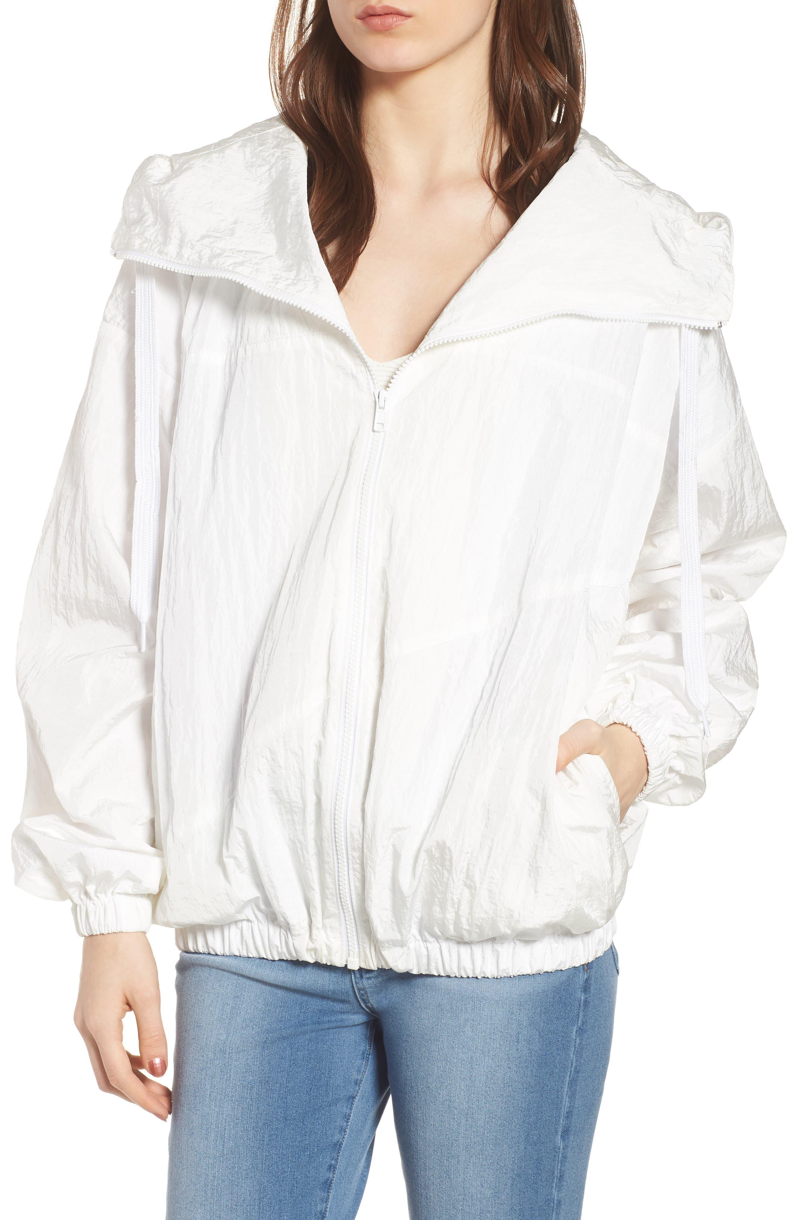 Hooded Windbreaker Jacket,                             Alternate thumbnail 4, color,                             White