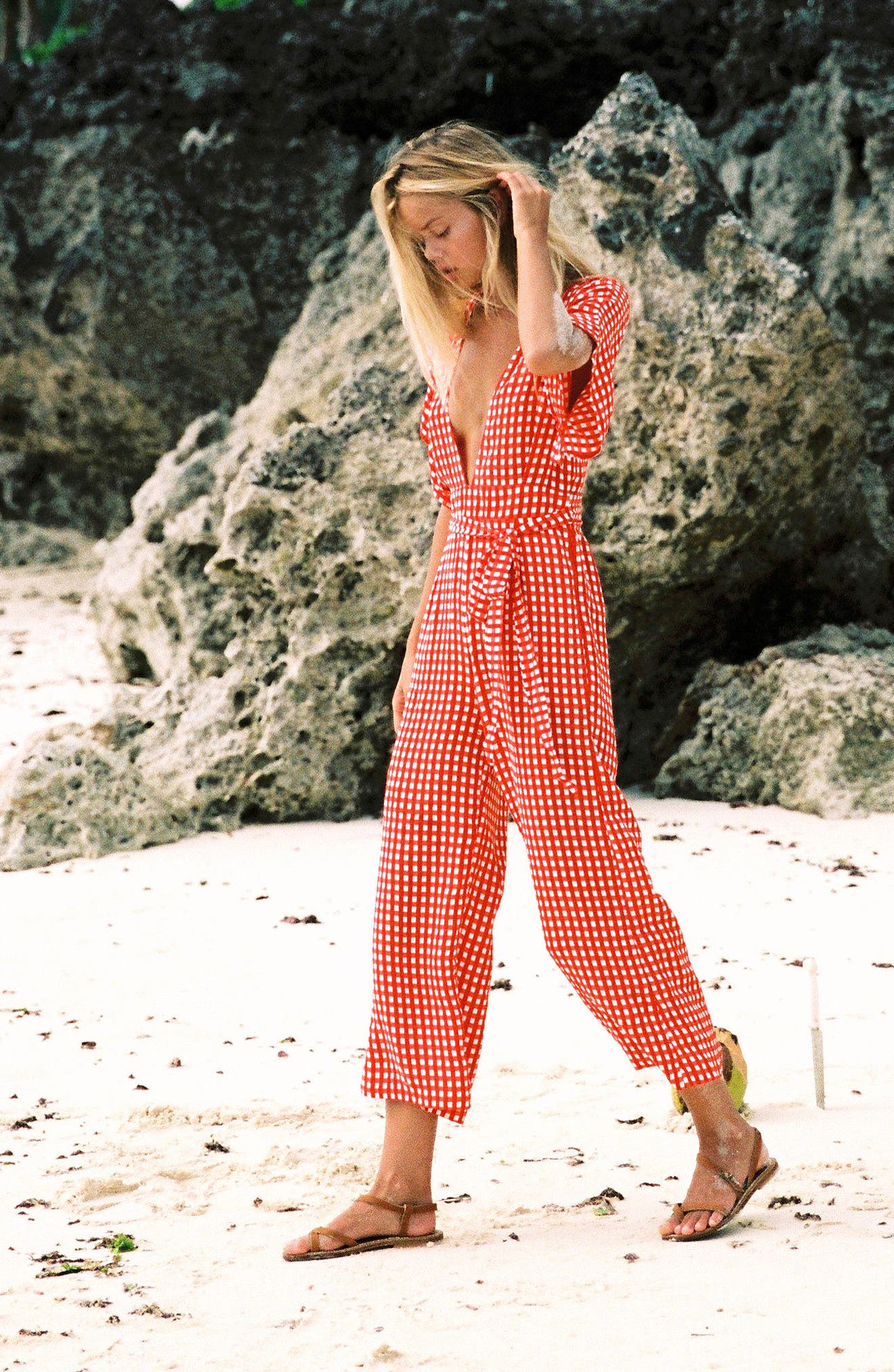 Alternate Image 2  - FAITHFULL THE BRAND Cedric Gingham Plunge Neck Jumpsuit