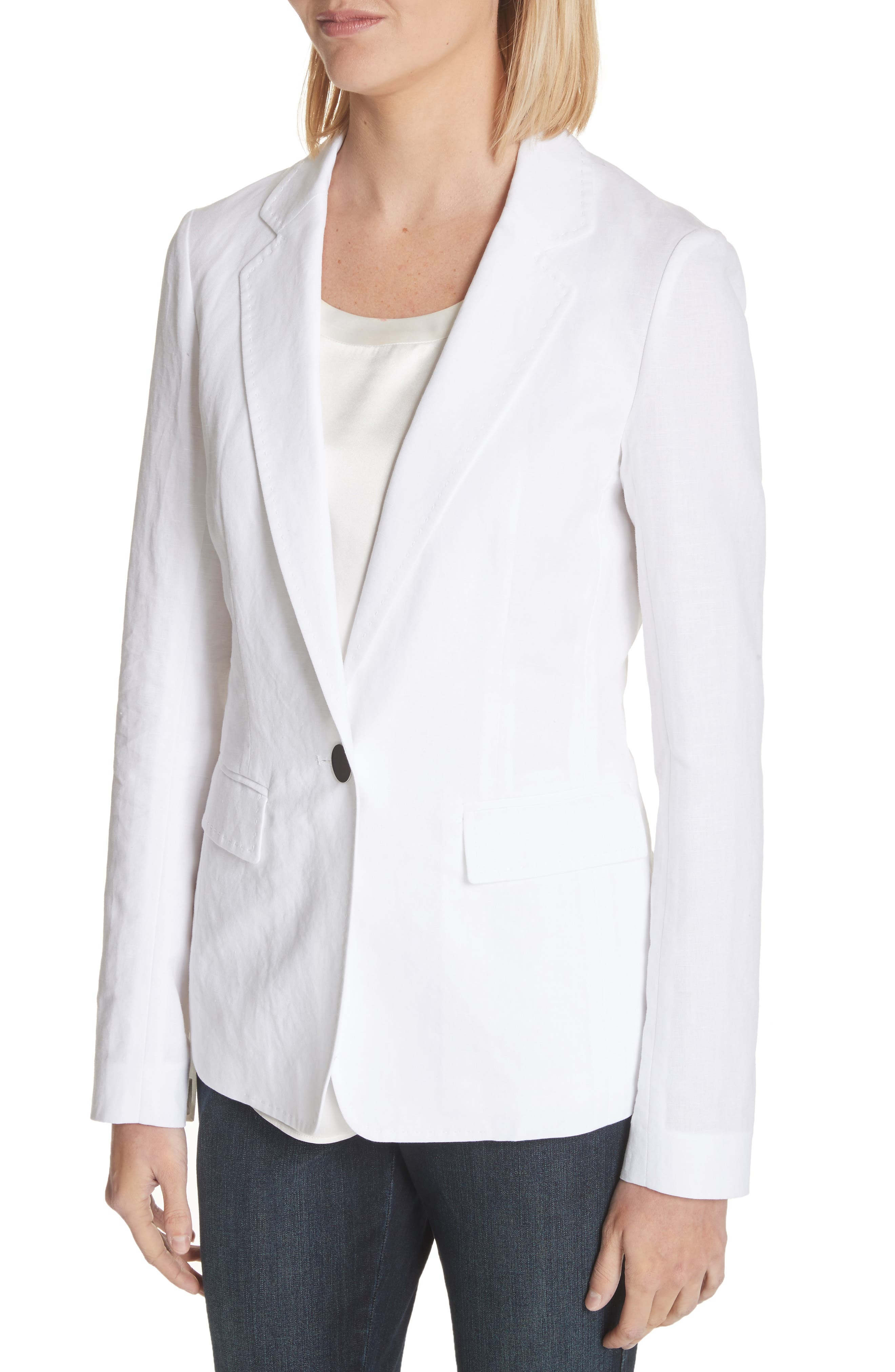 Lyndon Courtly Cotton & Linen Jacket,                             Alternate thumbnail 4, color,                             White