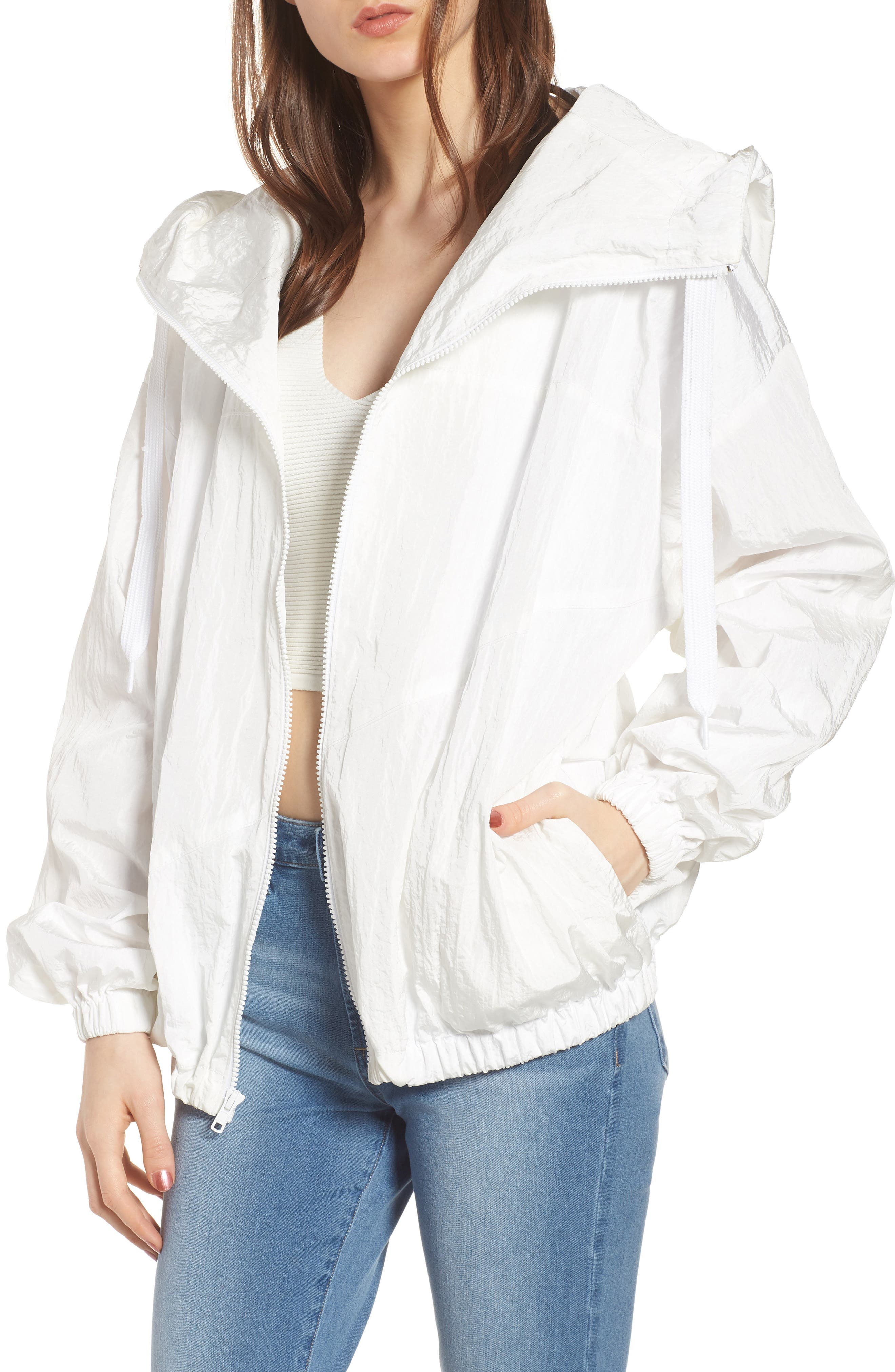 Hooded Windbreaker Jacket,                         Main,                         color, White