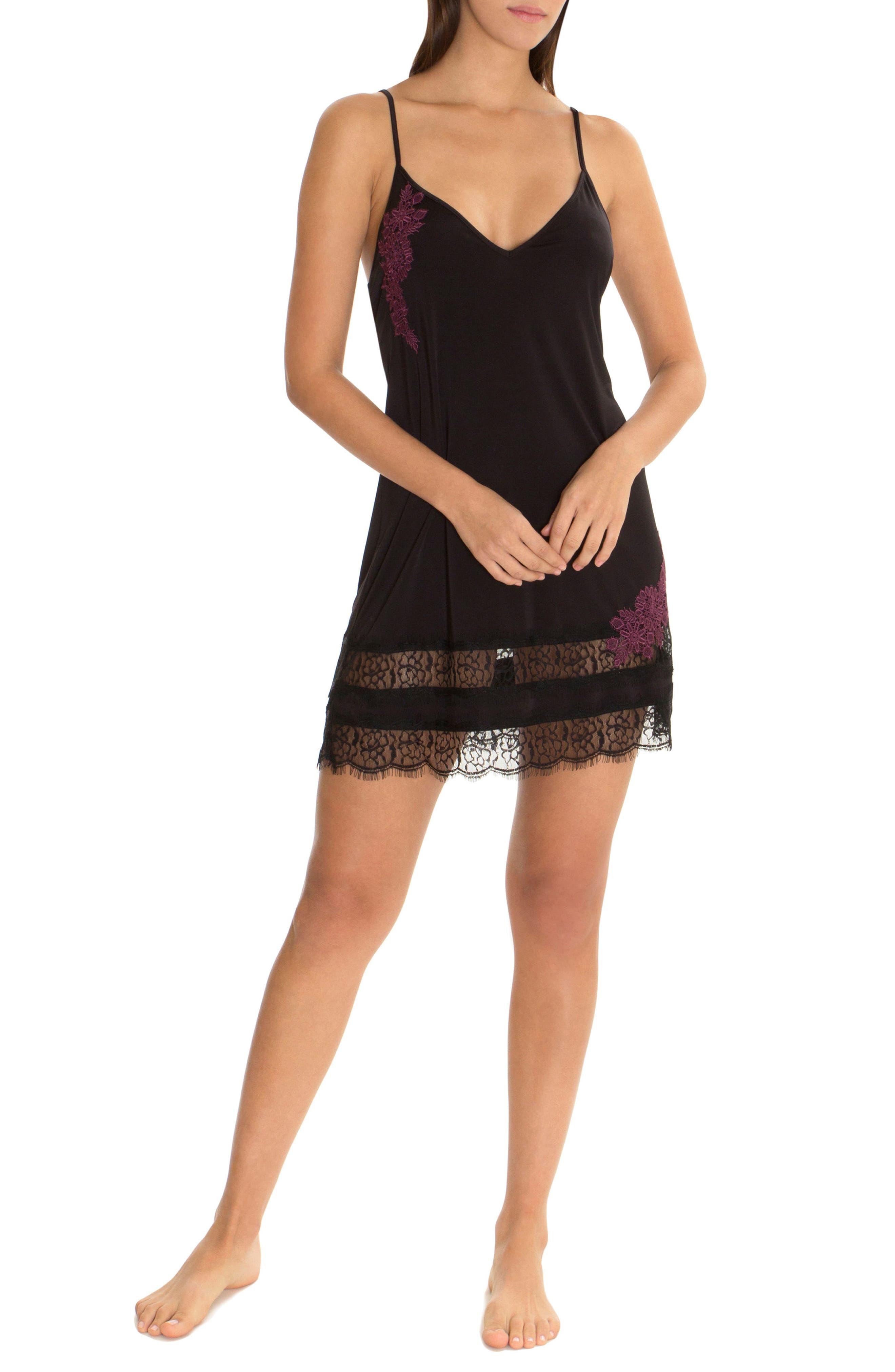 Lace Trim Knit Chemise,                             Alternate thumbnail 4, color,                             Black