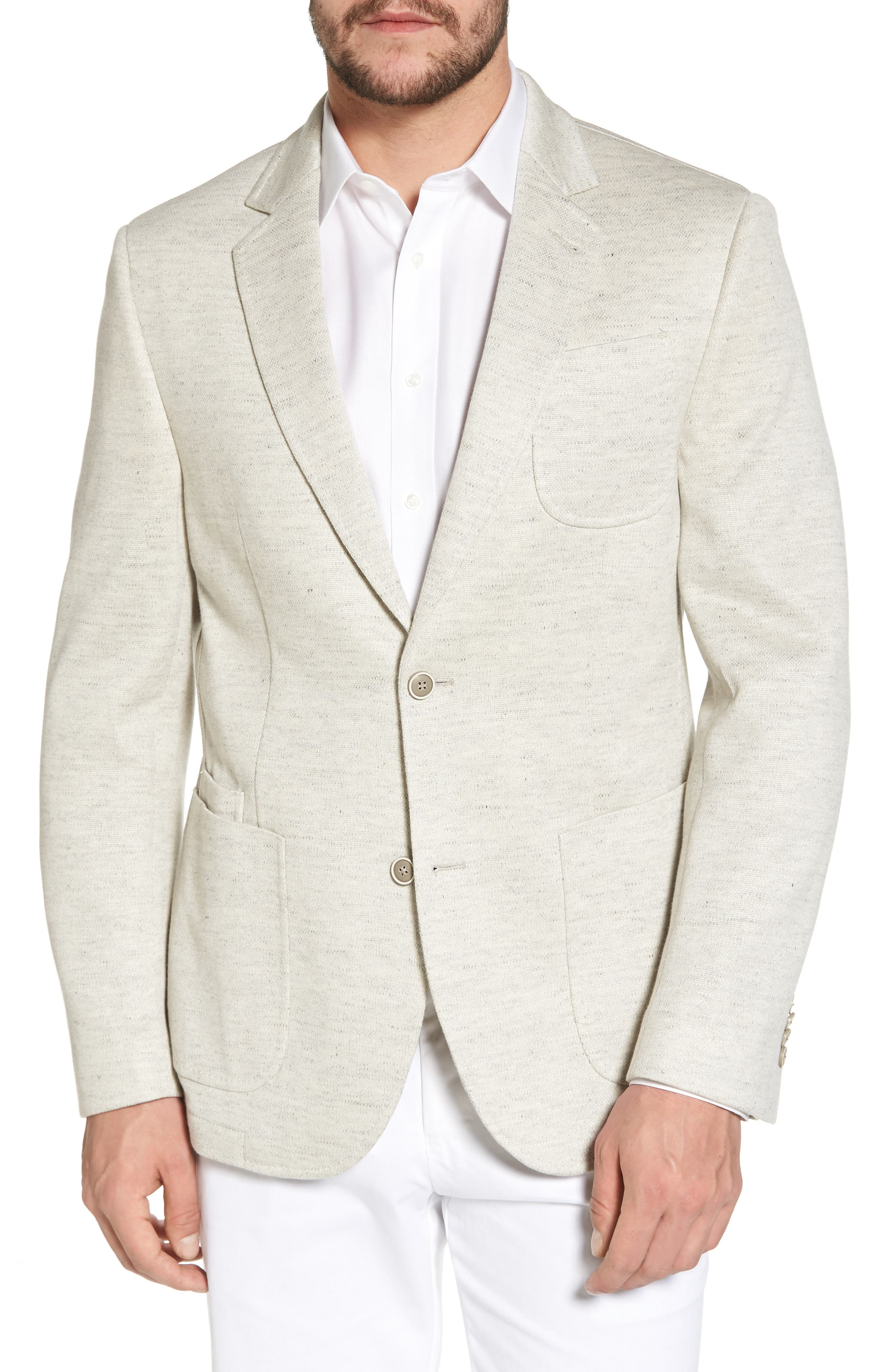 Classic Fit Heathered Jersey Sport Coat,                         Main,                         color, Light Grey