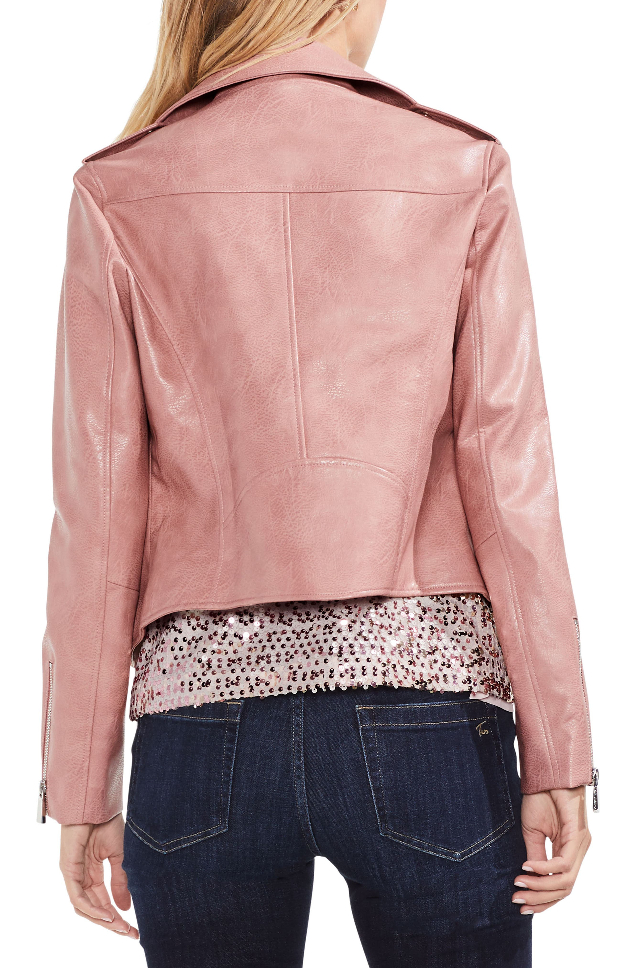 Pink Faux Leather Moto Jacket,                             Alternate thumbnail 2, color,                             Coral Cloud
