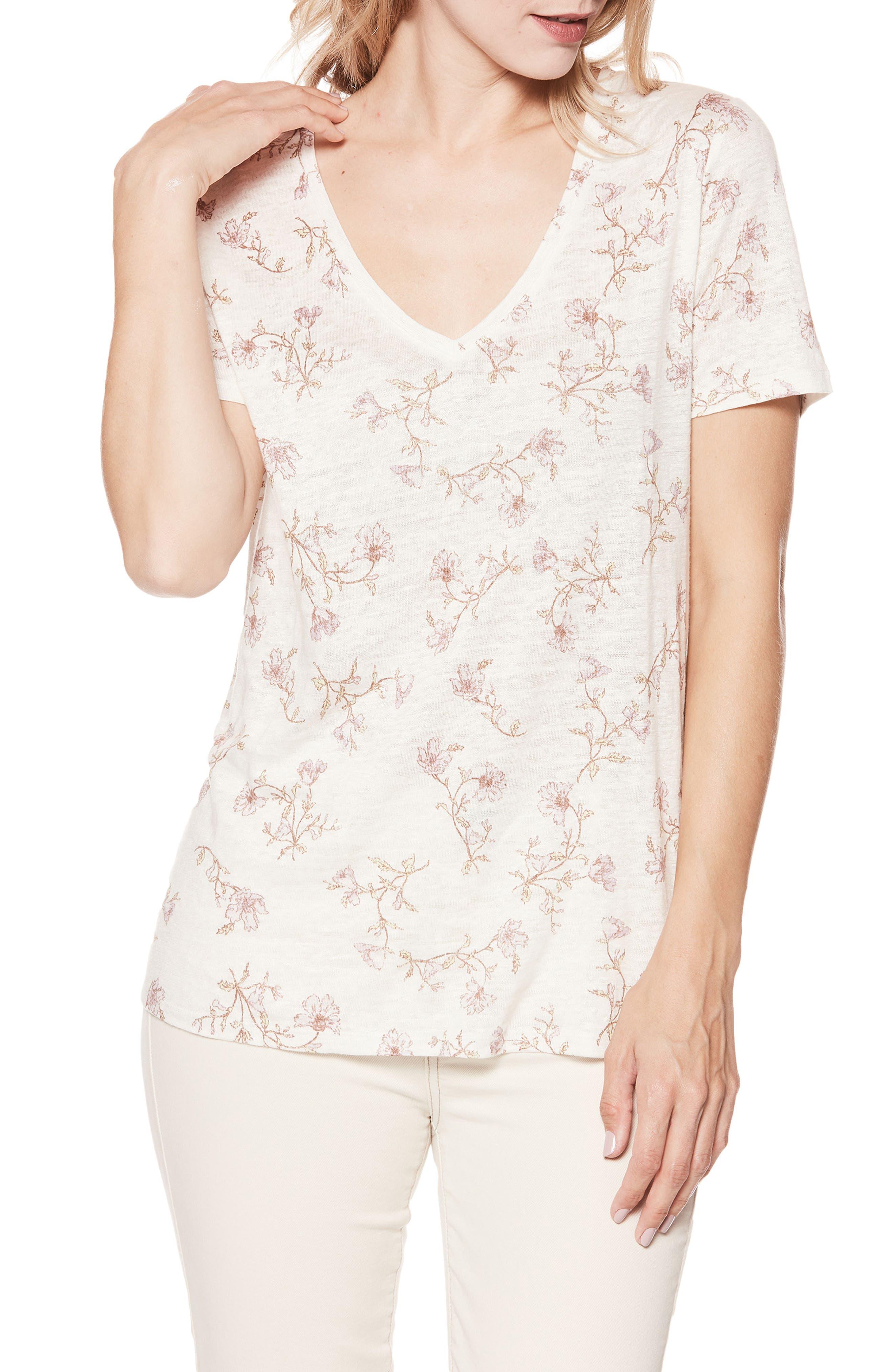 Arielle Floral Linen Tee,                         Main,                         color, White/ Mauve Shadows