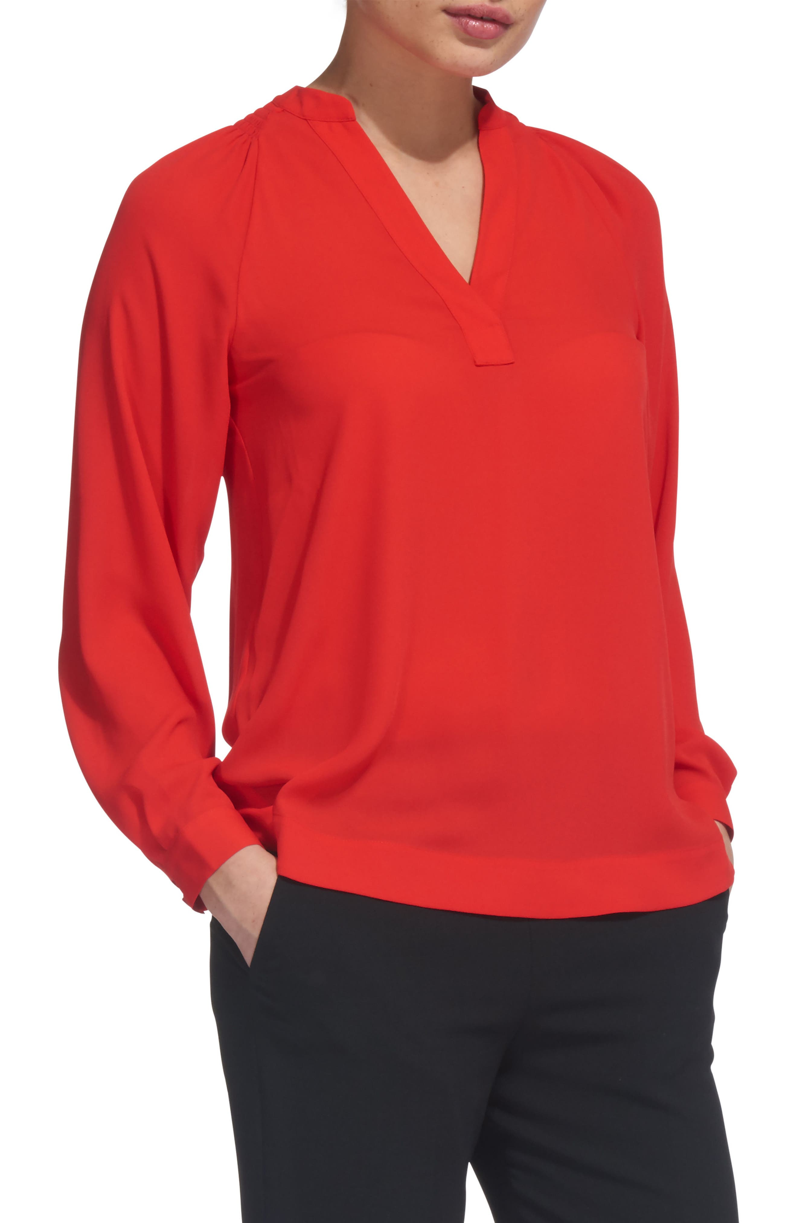 Catalina V-Neck Top,                         Main,                         color, Red