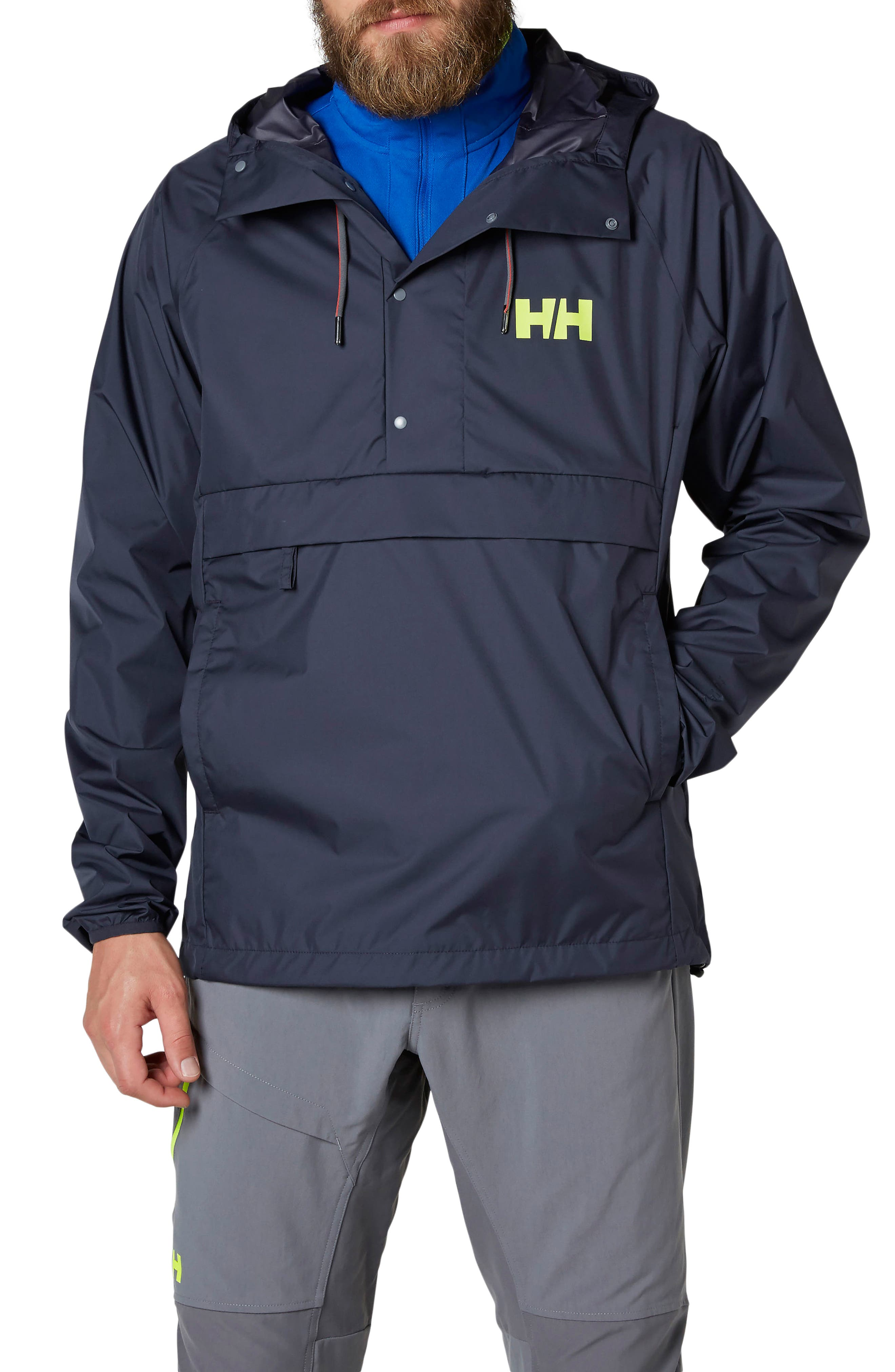 Loke Packable Anorak,                             Main thumbnail 1, color,                             Graphite Blue