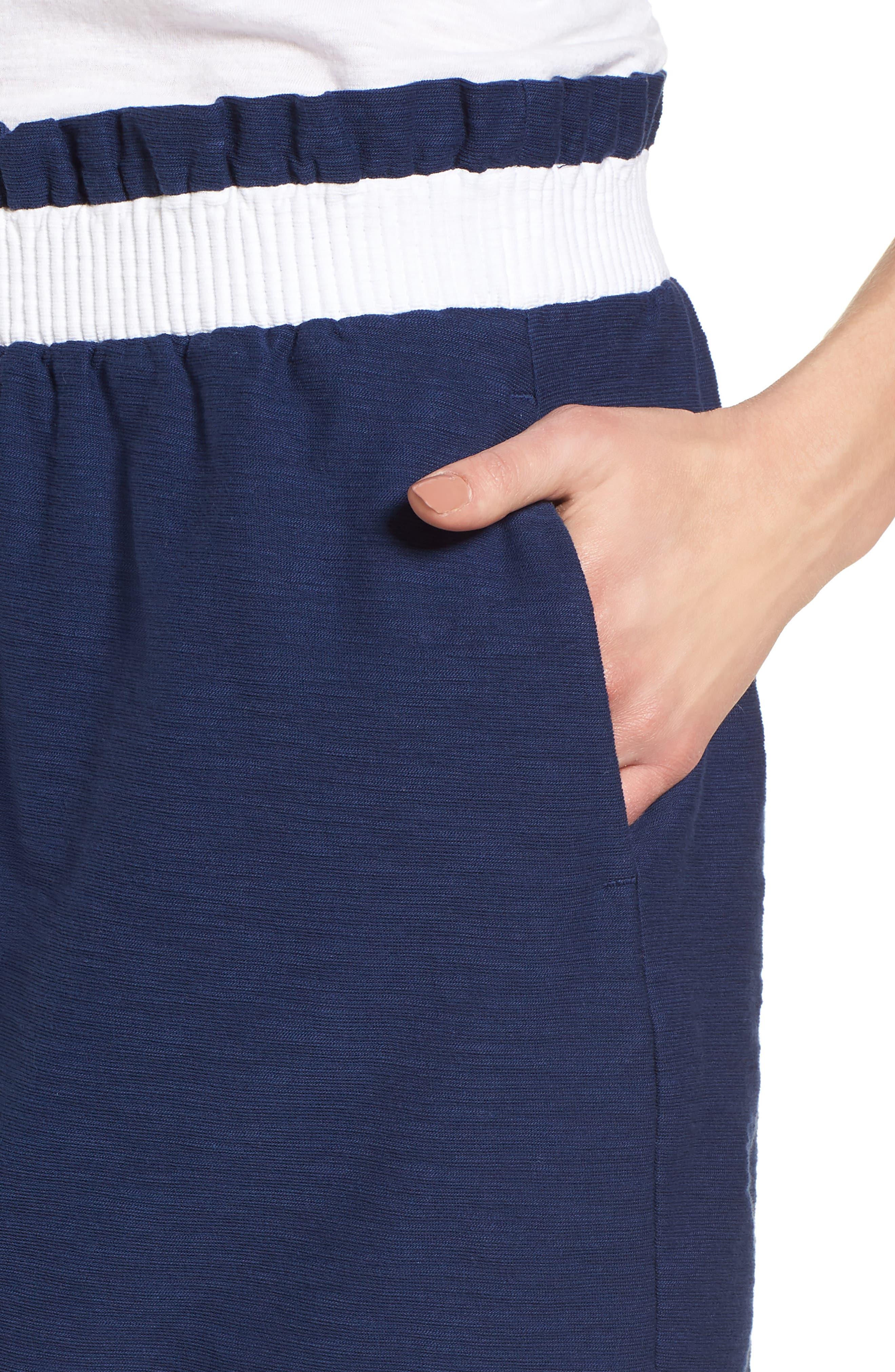 Waistband Stripe Pull On Skirt,                             Alternate thumbnail 4, color,                             Deep Bay