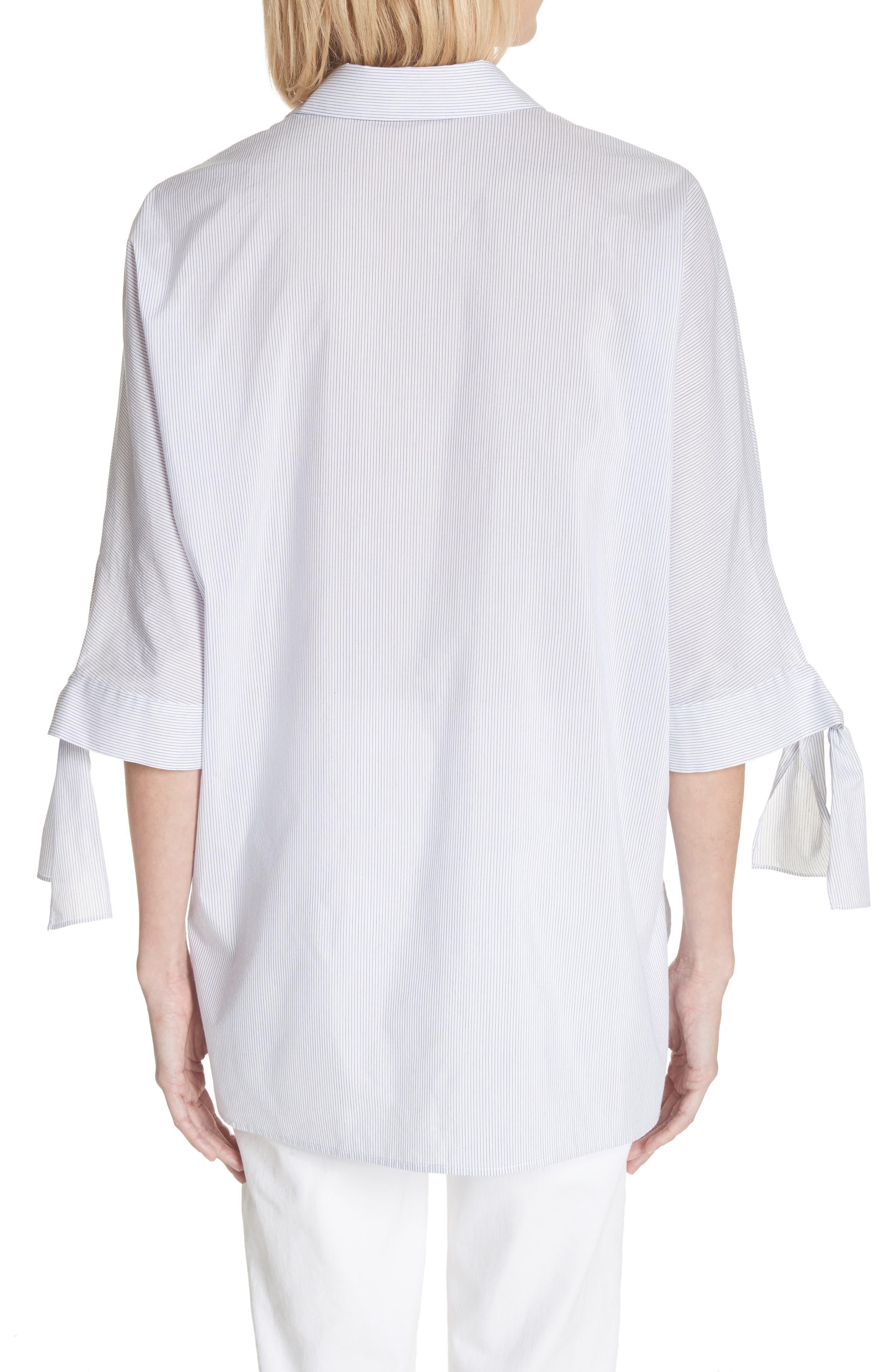 Breezy Stripe Saige Blouse,                             Alternate thumbnail 2, color,                             White Multi