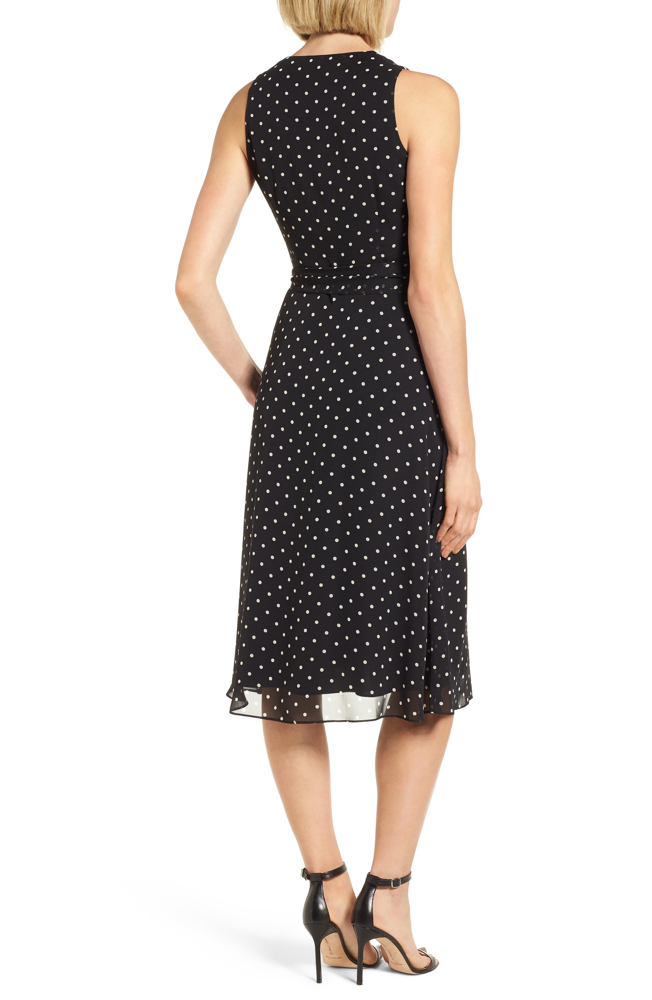 New York Dotted Chiffon Dress,                             Alternate thumbnail 2, color,                             Black/ White