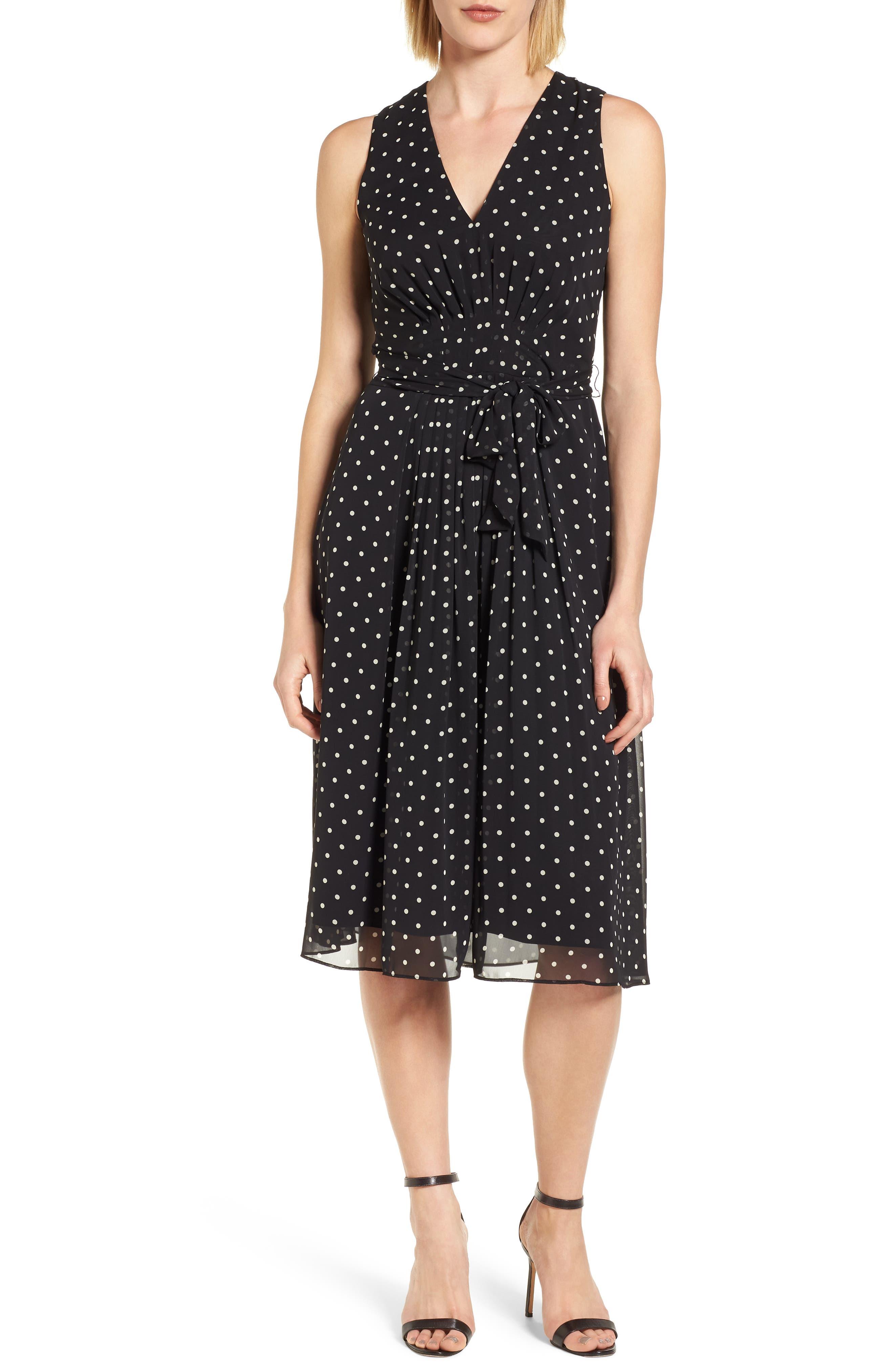 New York Dotted Chiffon Dress,                             Main thumbnail 1, color,                             Black/ White