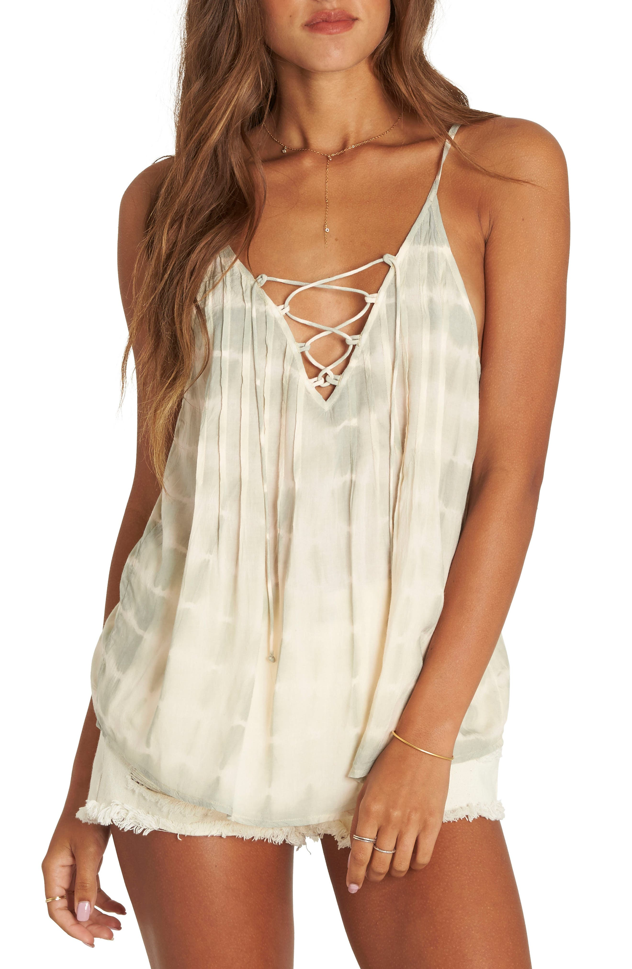 Illusions of Tie Dye Lace-Up Tank,                             Main thumbnail 1, color,                             Mineral Green