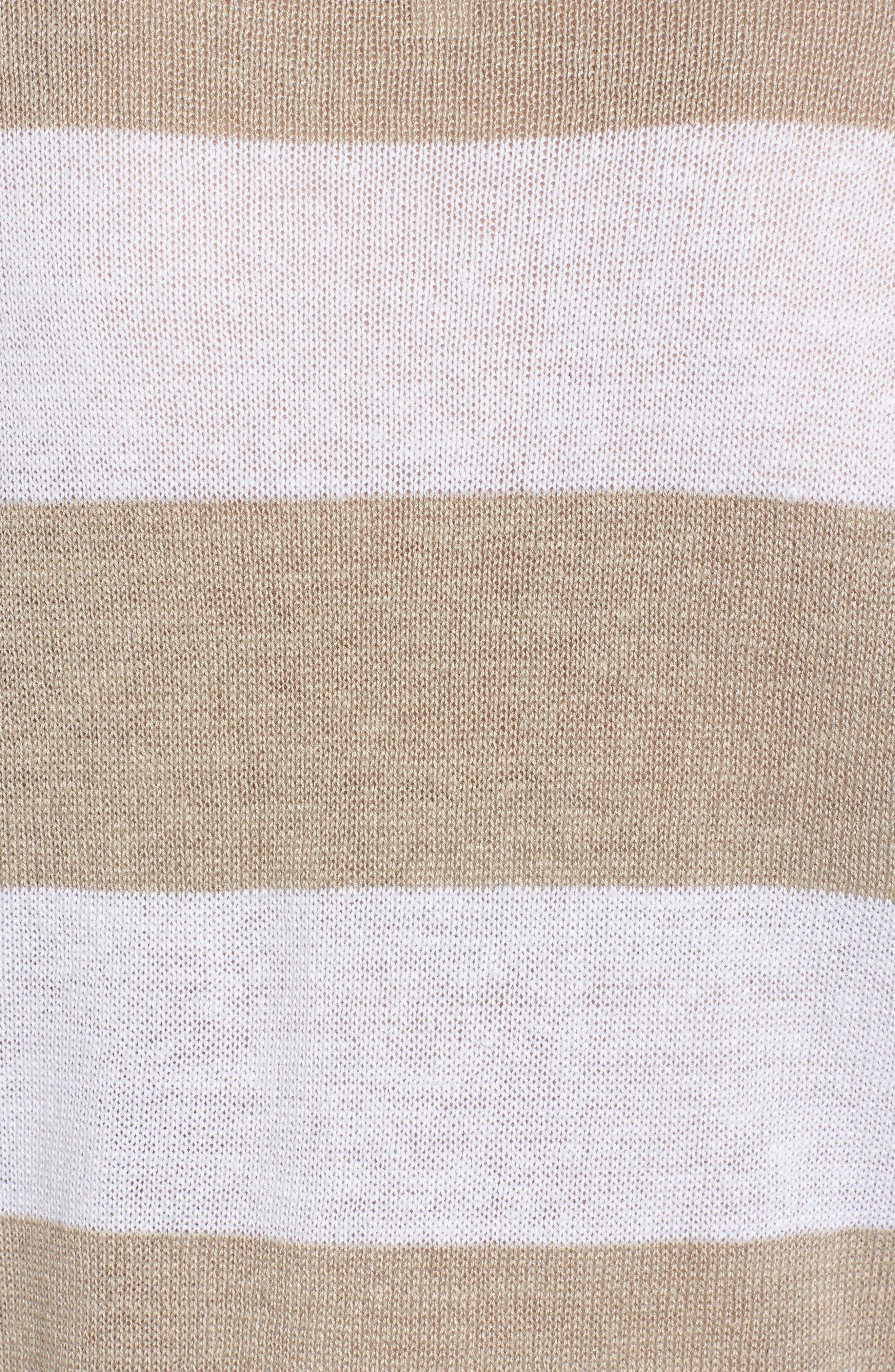 Stripe Organic Linen Knit A-Line Top,                             Alternate thumbnail 5, color,                             White/ Natural