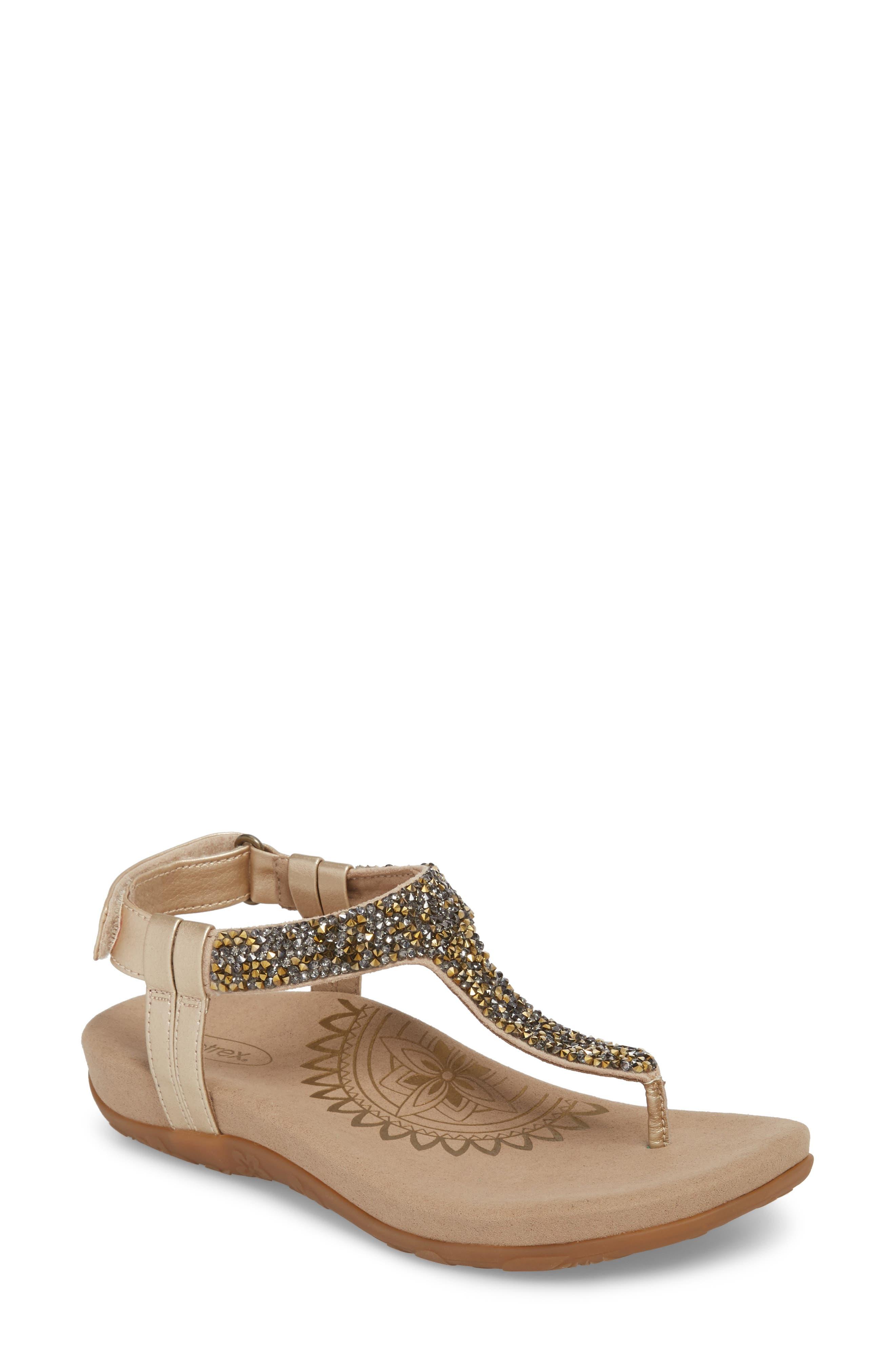 Aetrex Jade Embellished T-Strap Sandal (Women)