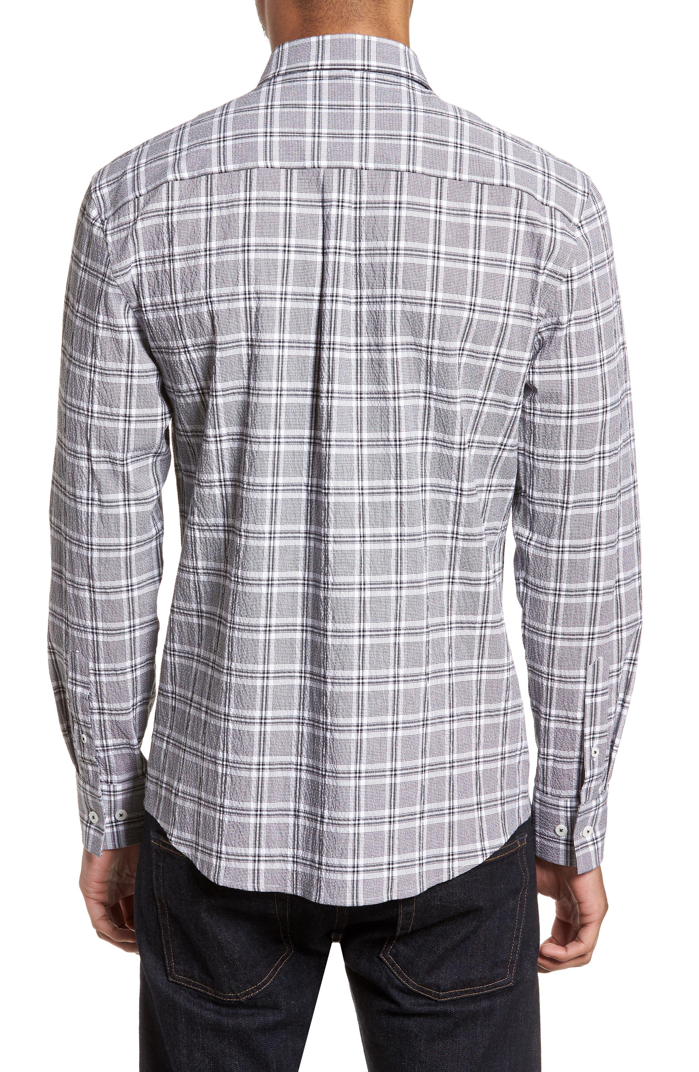 Alternate Image 2  - Vince Camuto Slim Fit Plaid Seersucker Sport Shirt