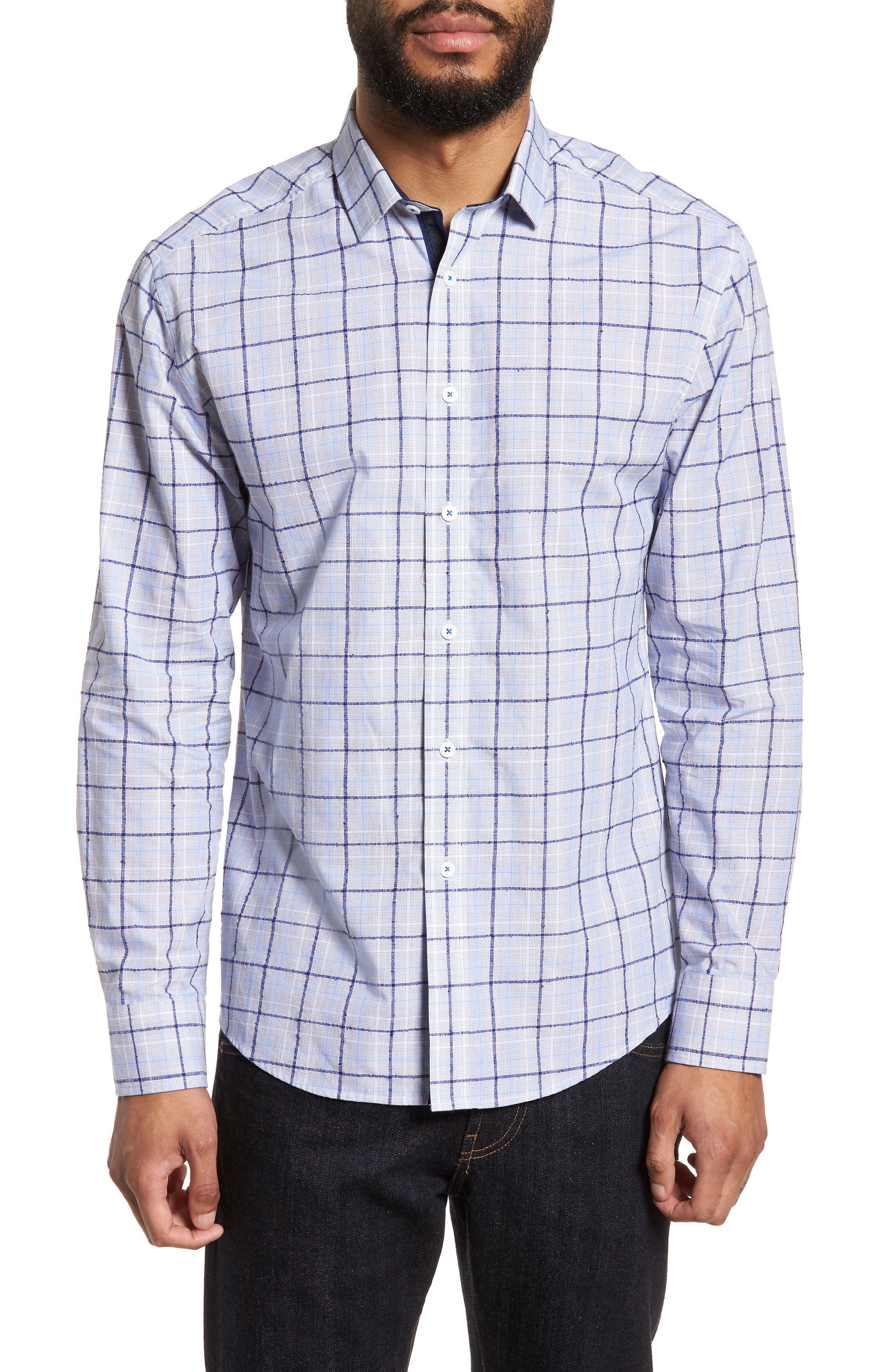 Slim Fit Bouclé Plaid Sport Shirt,                         Main,                         color, Blue Boucle Plaid