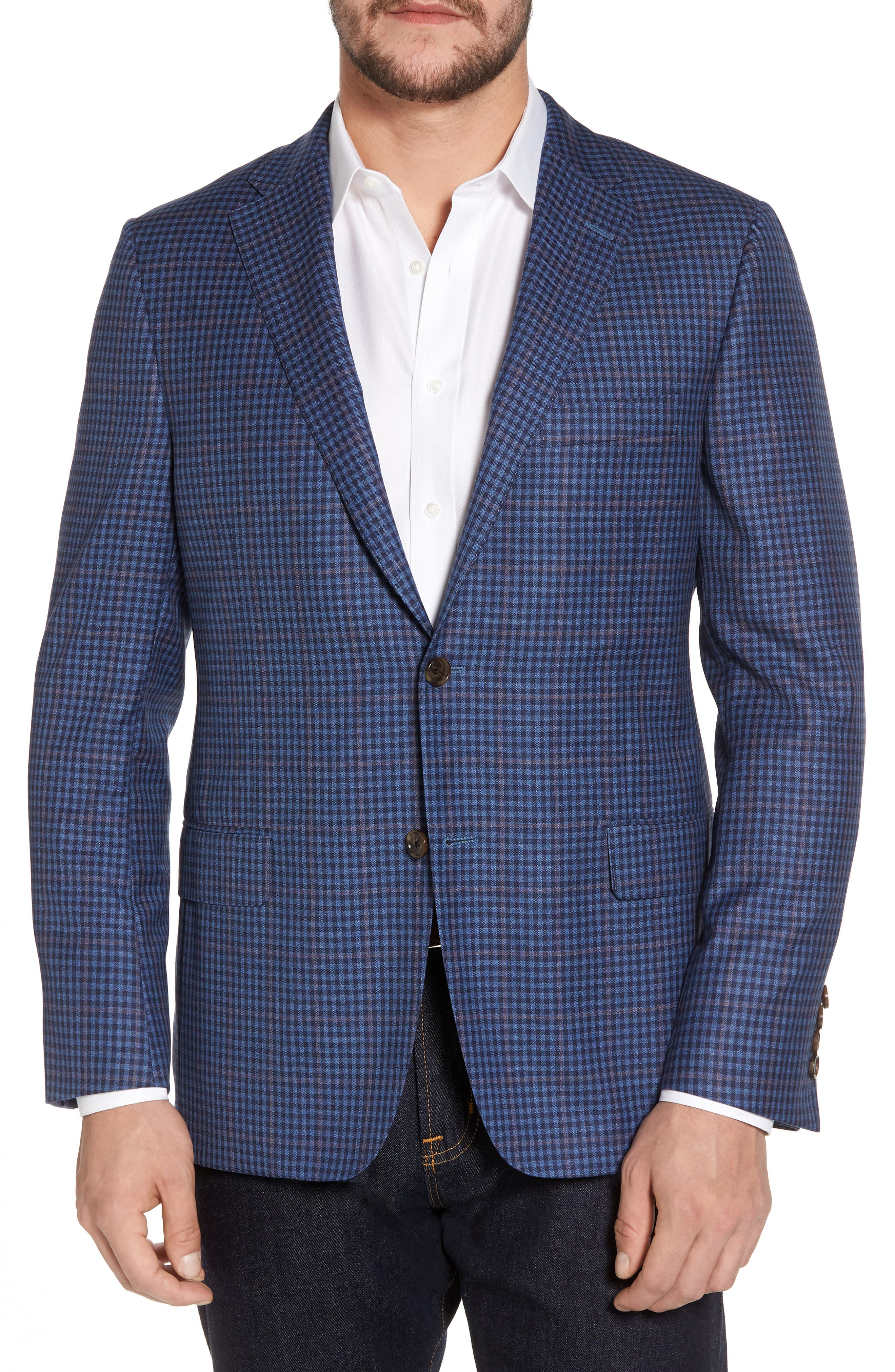 Classic B Fit Check Wool Sport Coat,                         Main,                         color, Blue