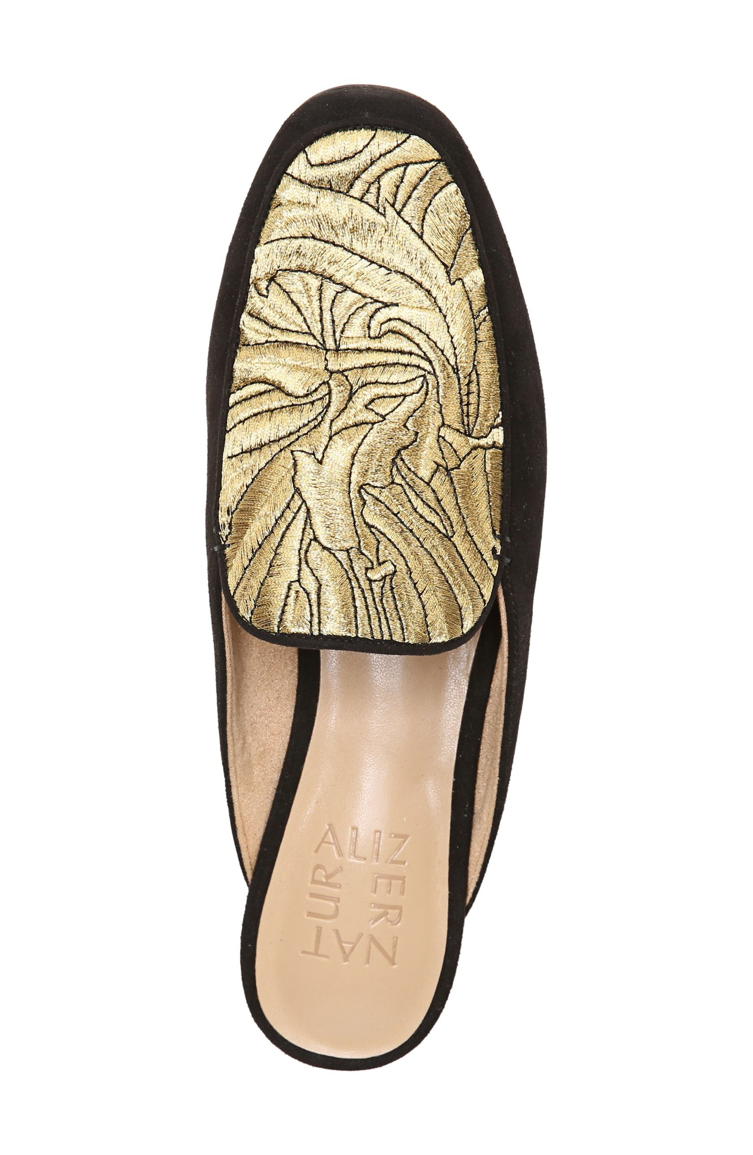 Eden II Embroidered Mule,                             Alternate thumbnail 5, color,                             Black/ Gold Leather