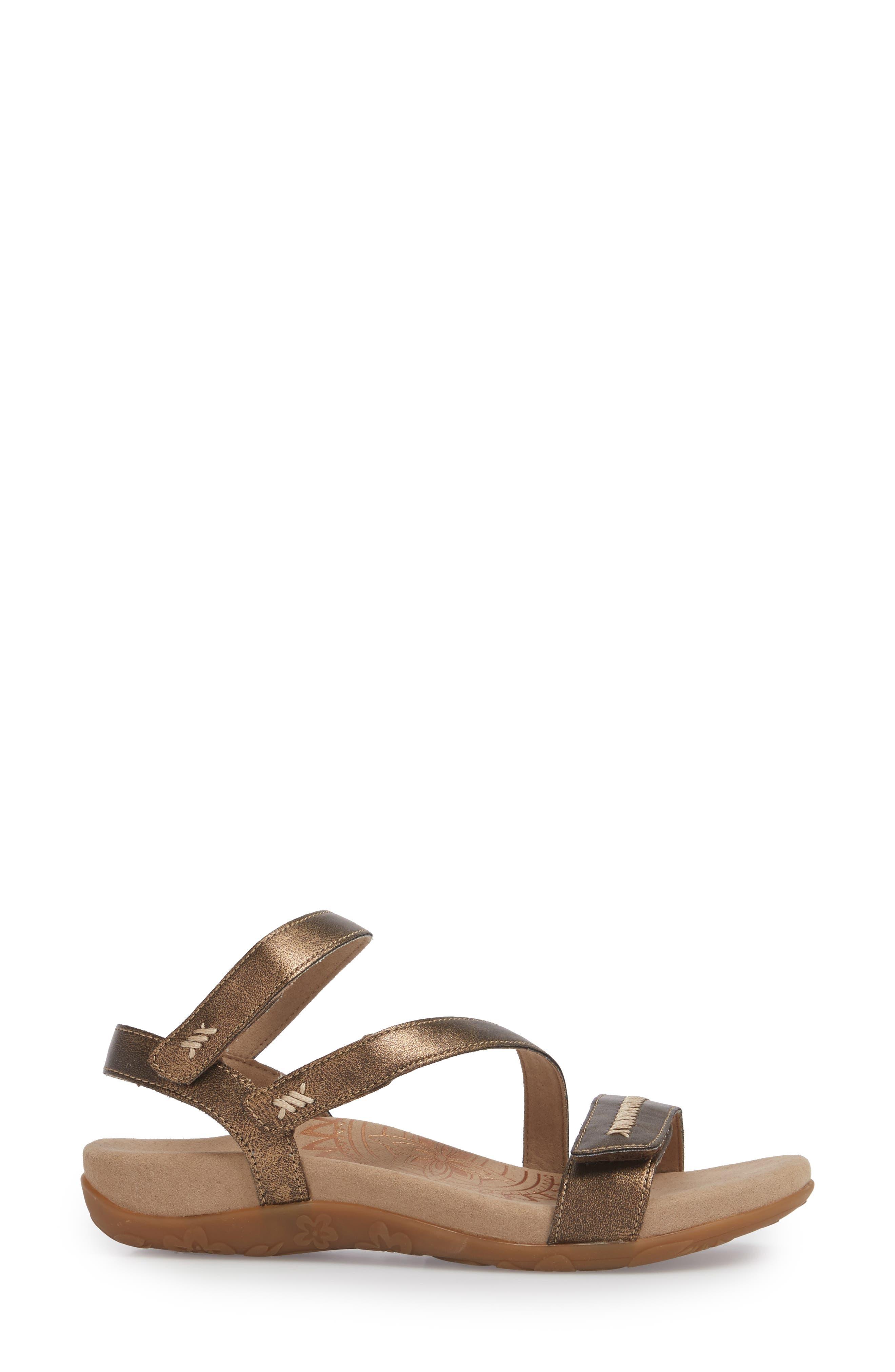 Gabby Sandal,                             Alternate thumbnail 3, color,                             Bronze Leather