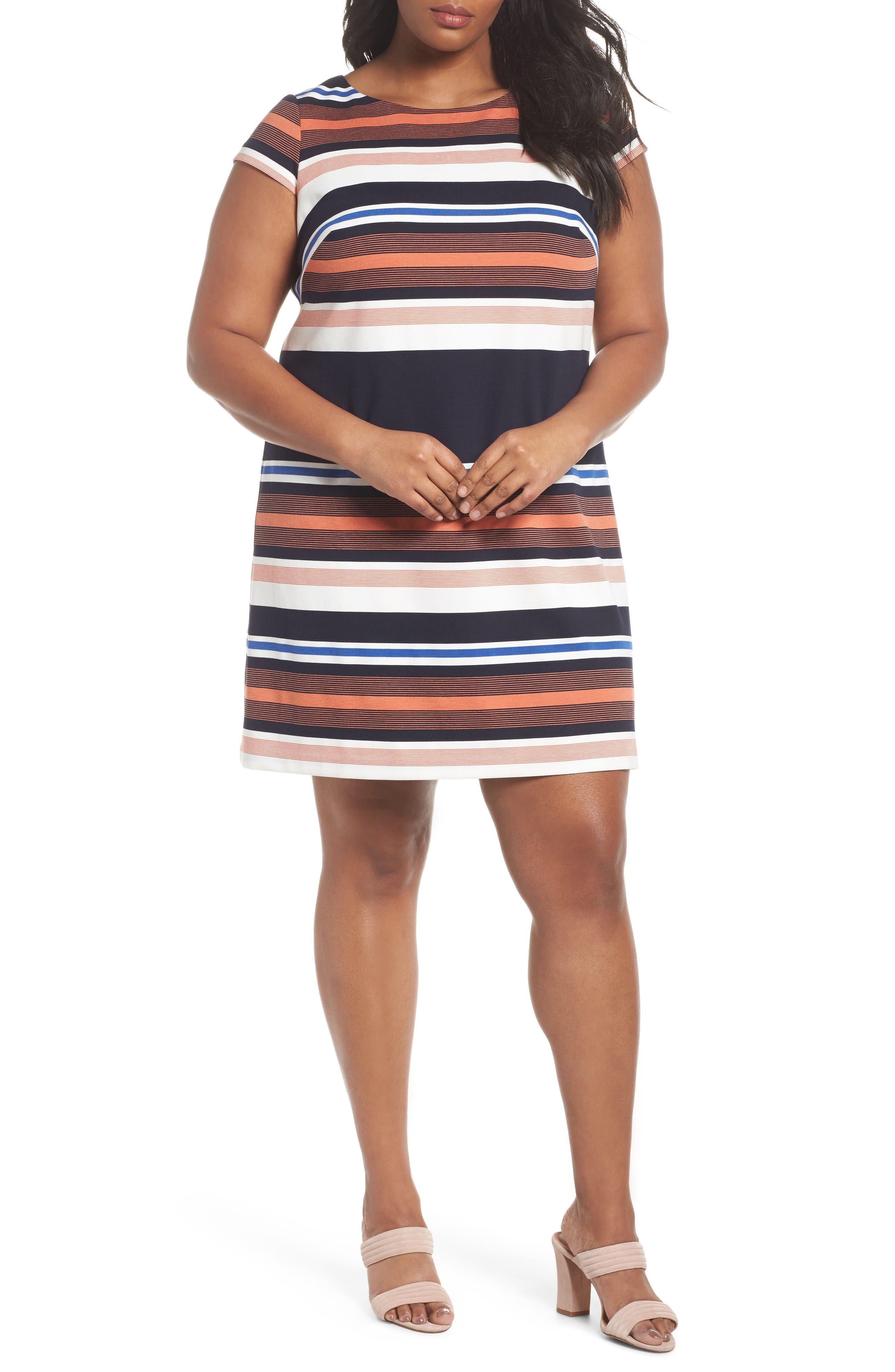 Stripe Shirtdress,                         Main,                         color, Coral Multi