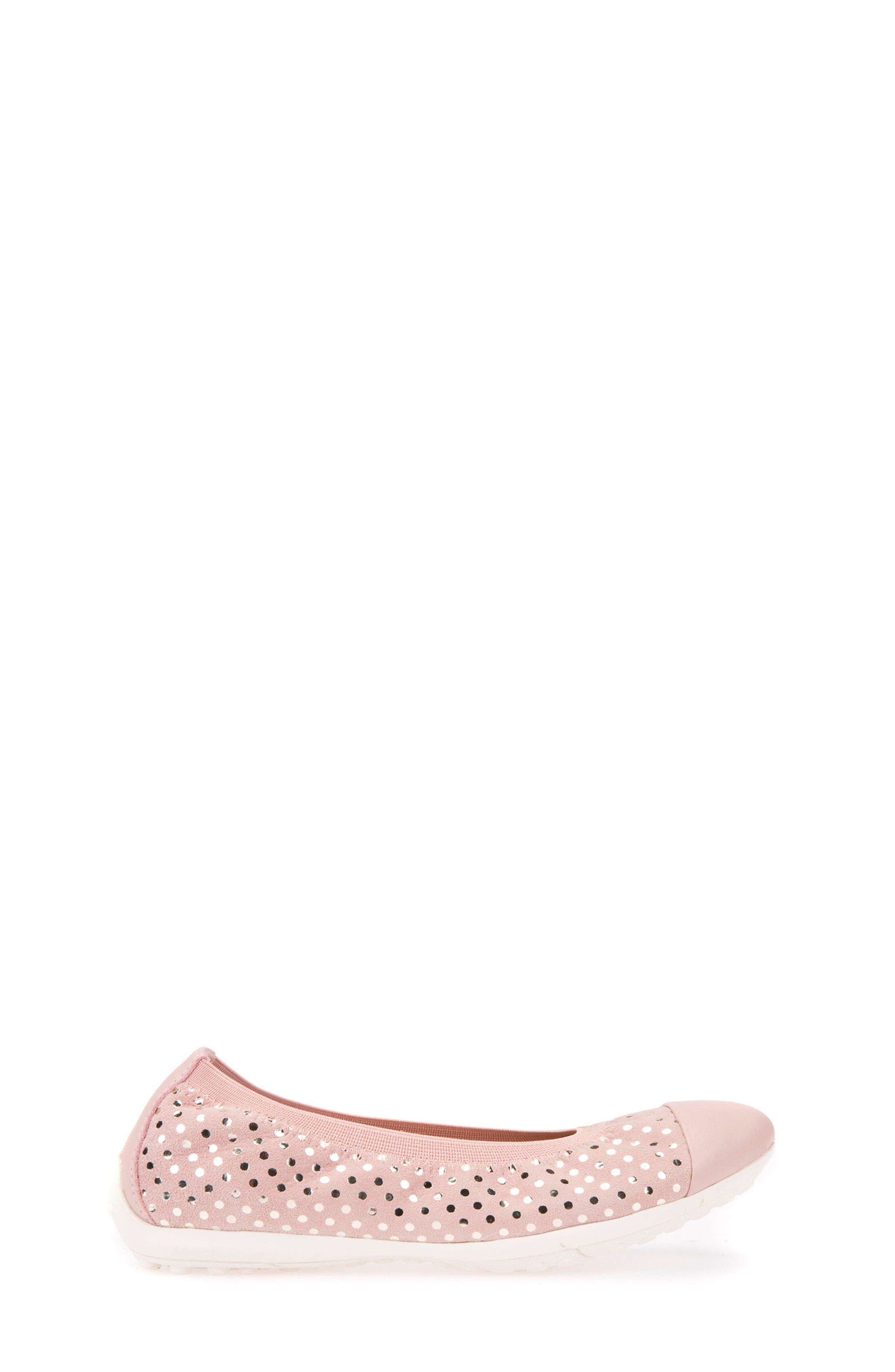 Jr Piuma Cap Toe Ballerina Flat,                             Alternate thumbnail 3, color,                             Rose
