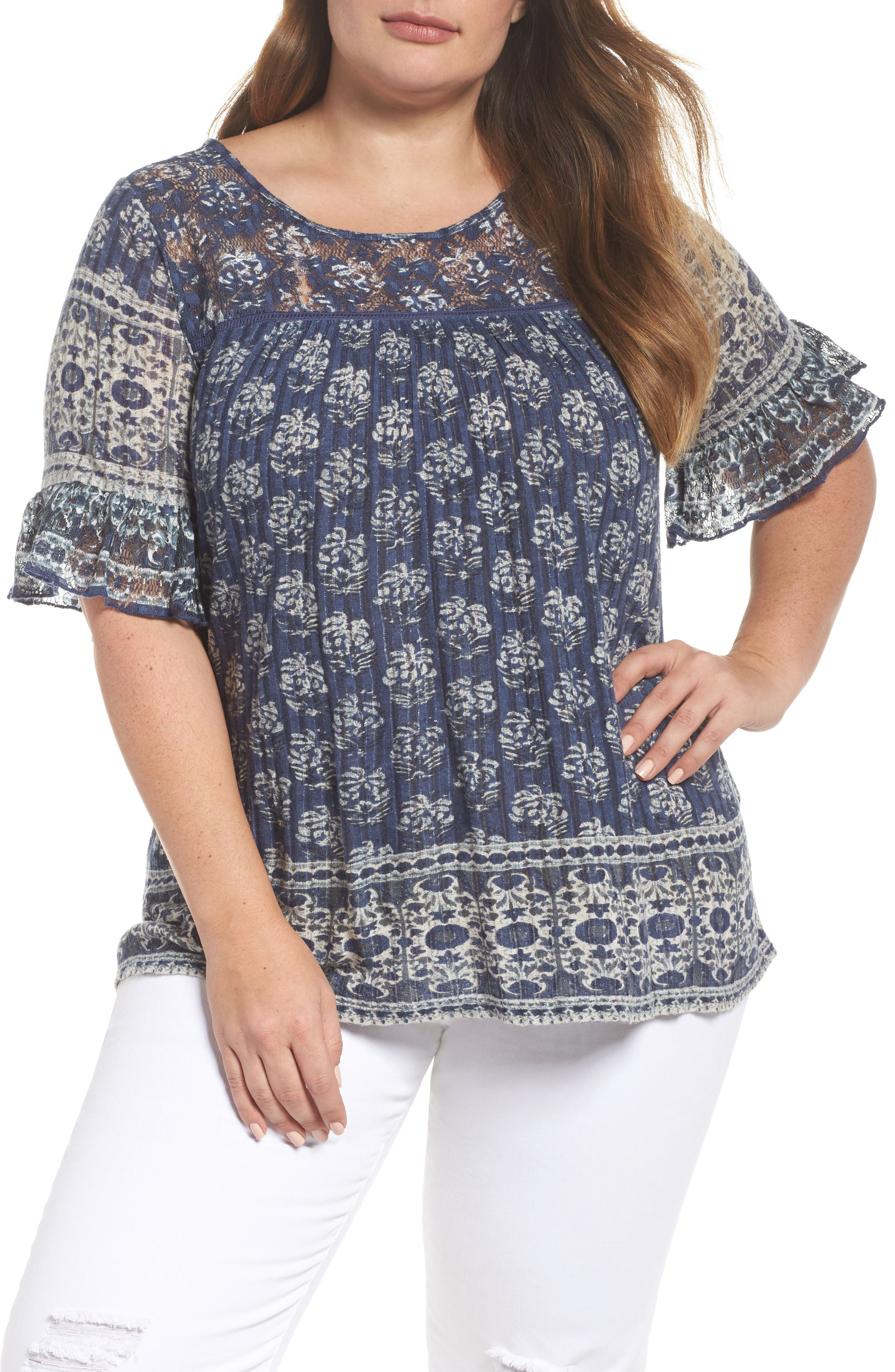 Lucky Brand Print Top (Plus Size)
