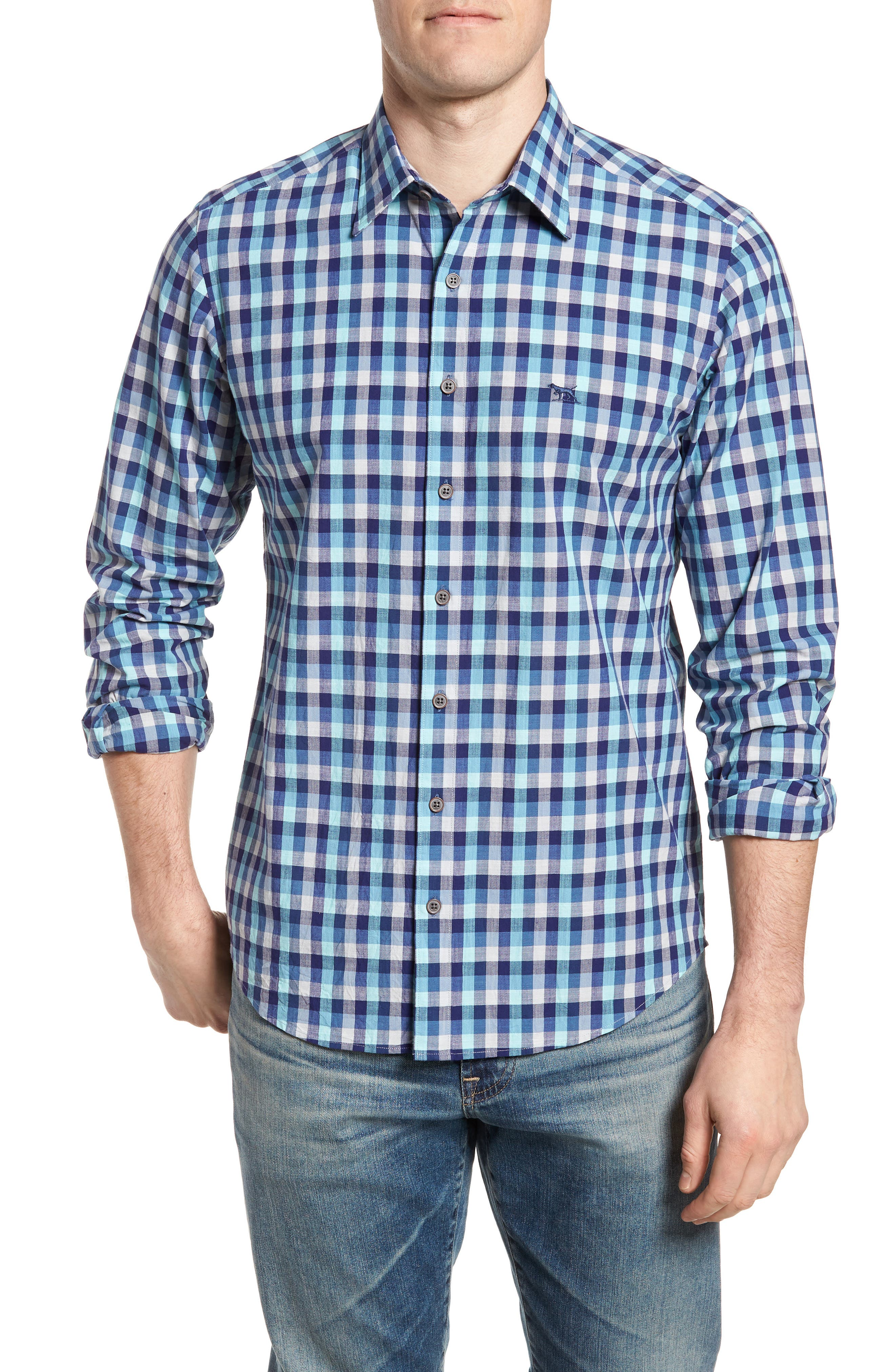 Larson Regular Fit Check Sport Shirt,                         Main,                         color, Seagrass
