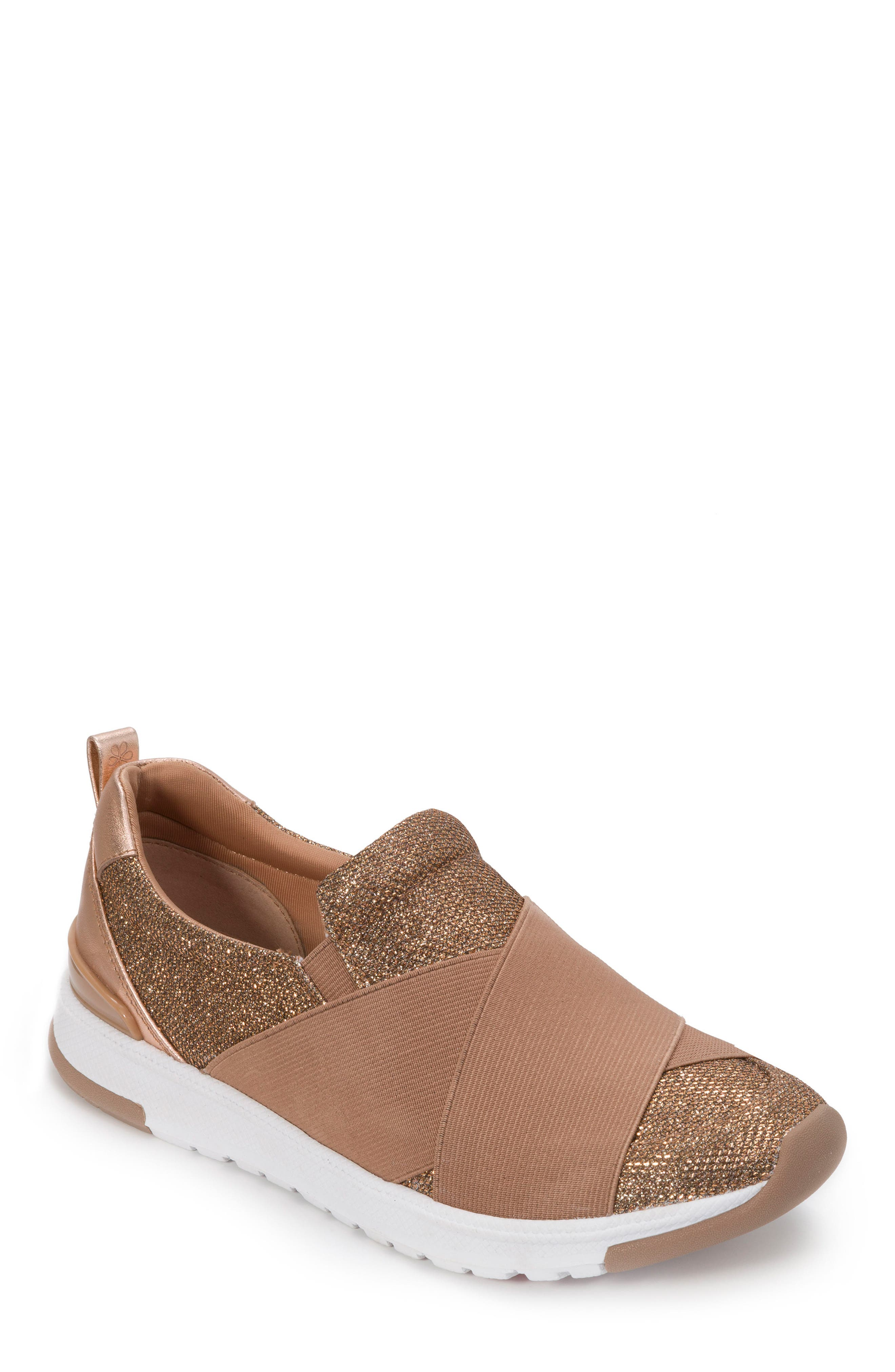 FOOT PETALS Slip-On Sneaker in Rose Gold Leather