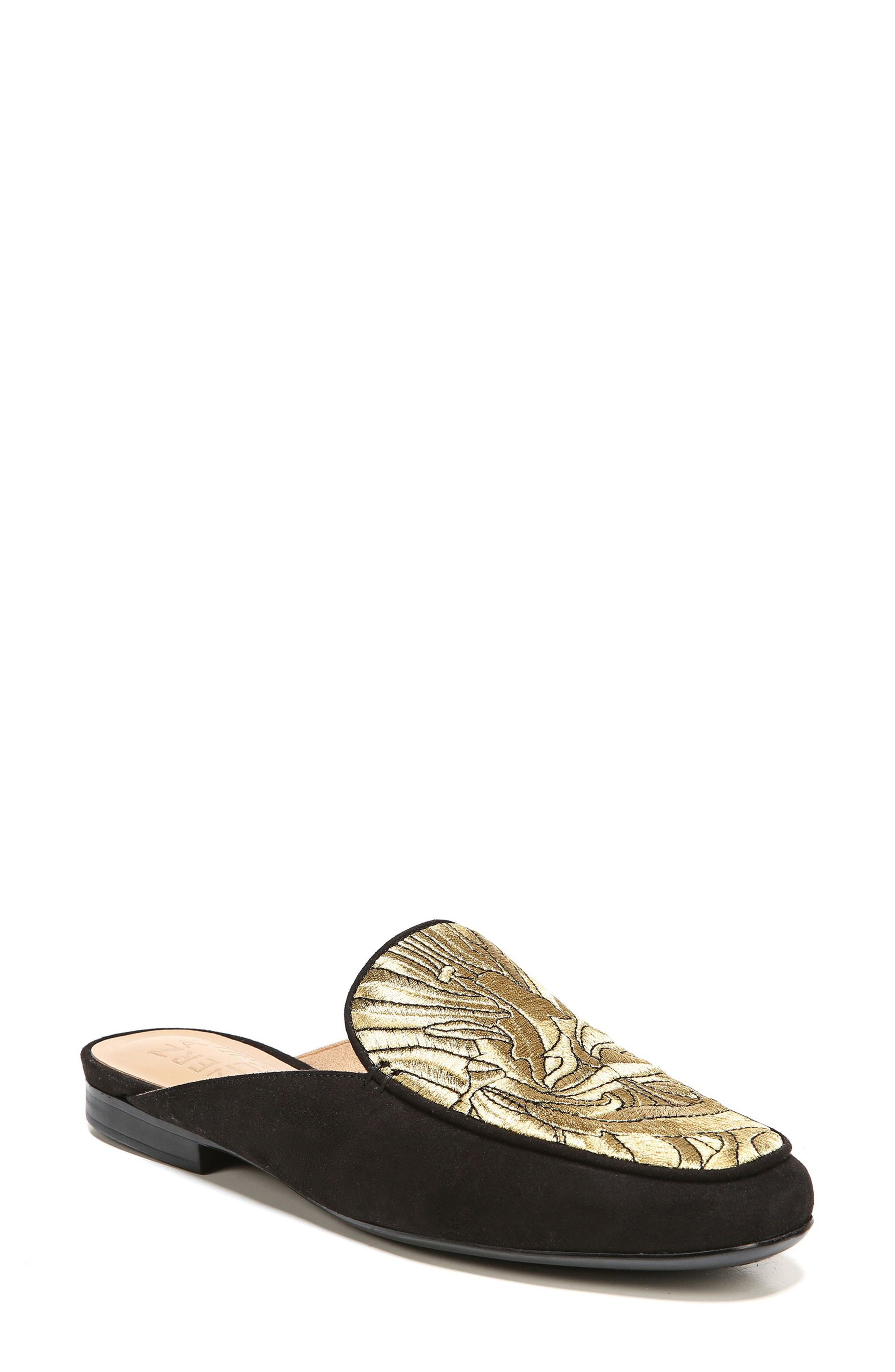 Eden II Embroidered Mule,                         Main,                         color, Black/ Gold Leather