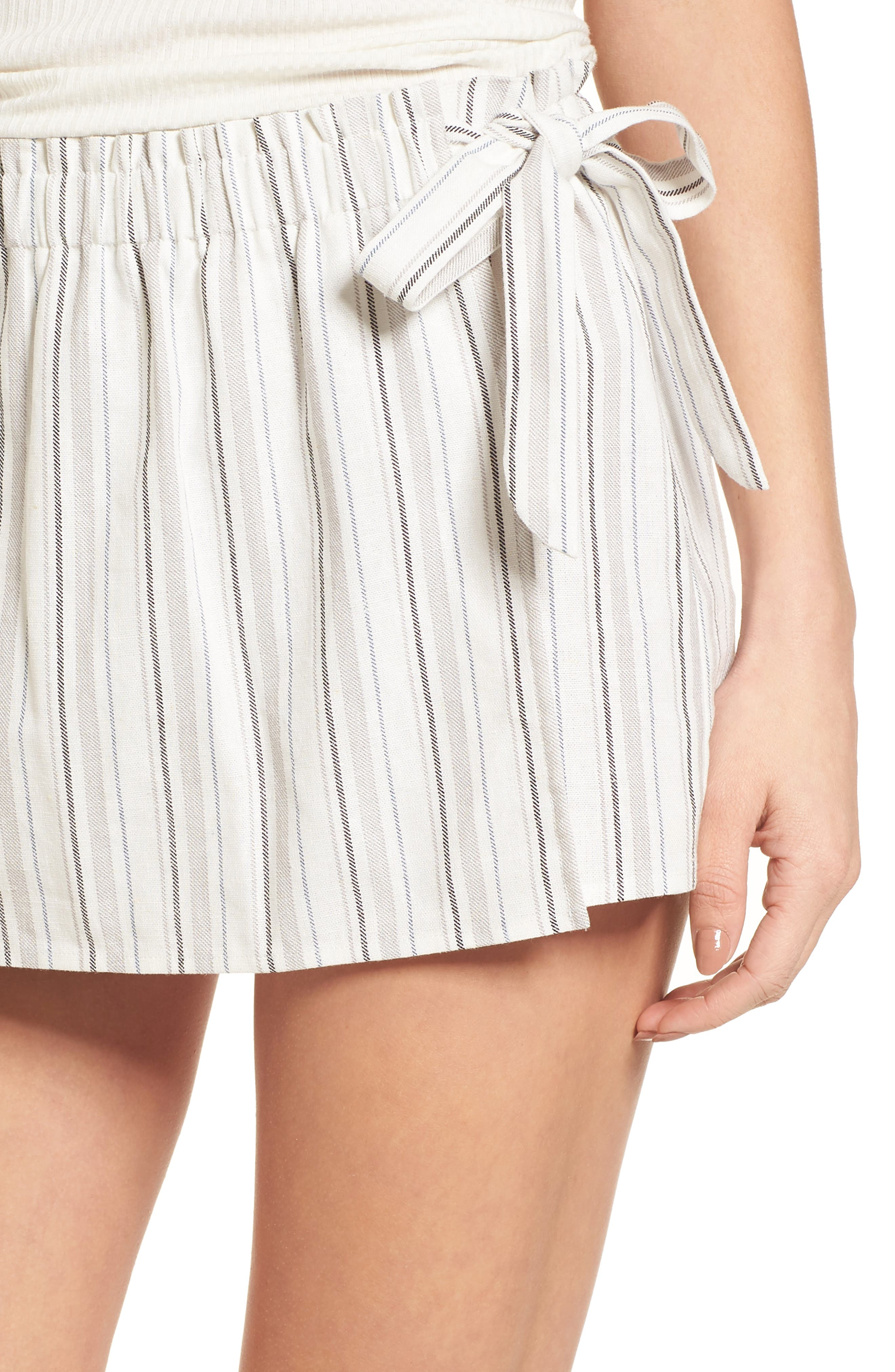 Side Tie Stripe Skort,                             Alternate thumbnail 4, color,                             Natural/ Black Linen Stripe