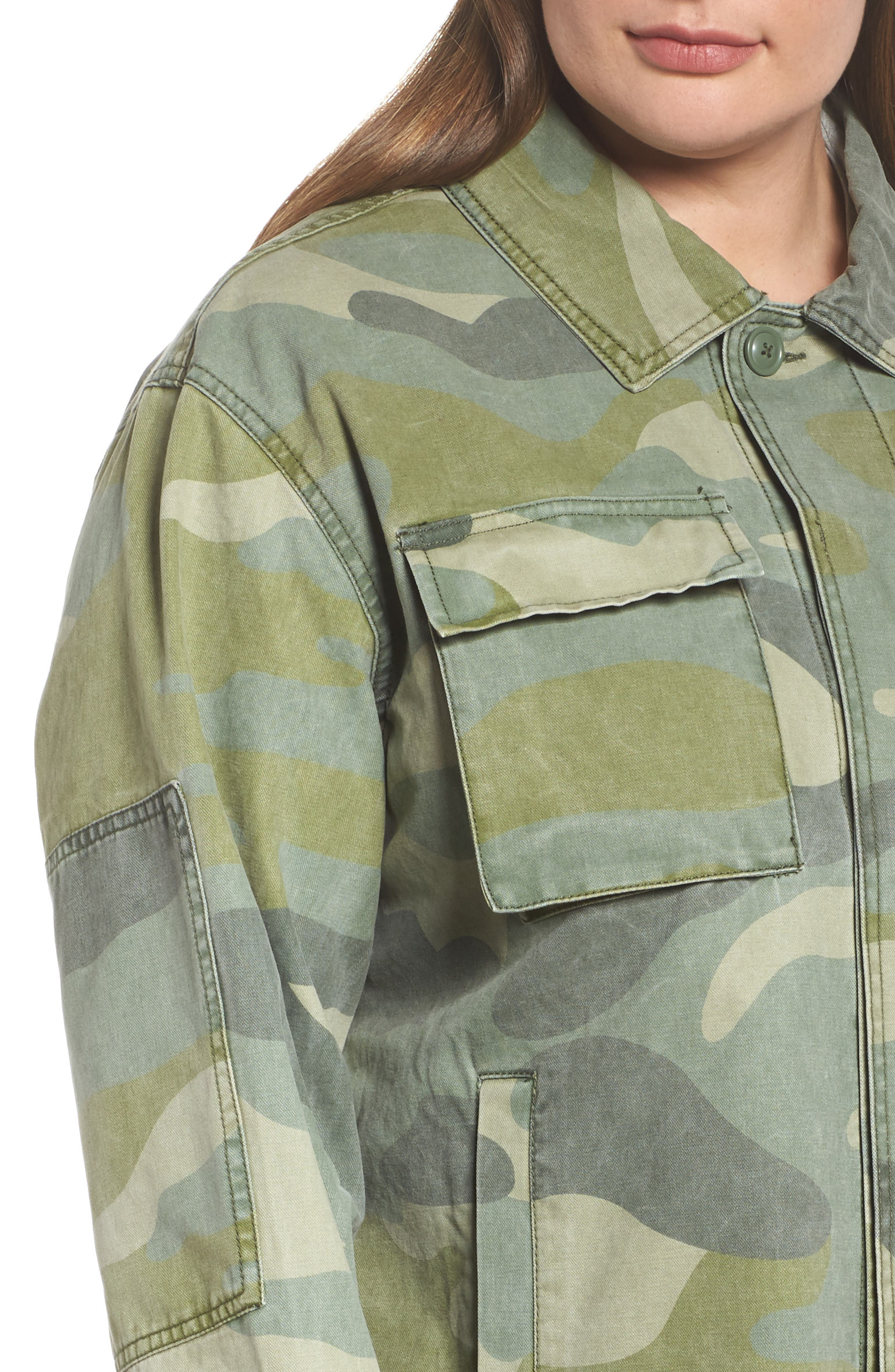 High/Low Shirt Jacket,                             Alternate thumbnail 4, color,                             Light Green Camo