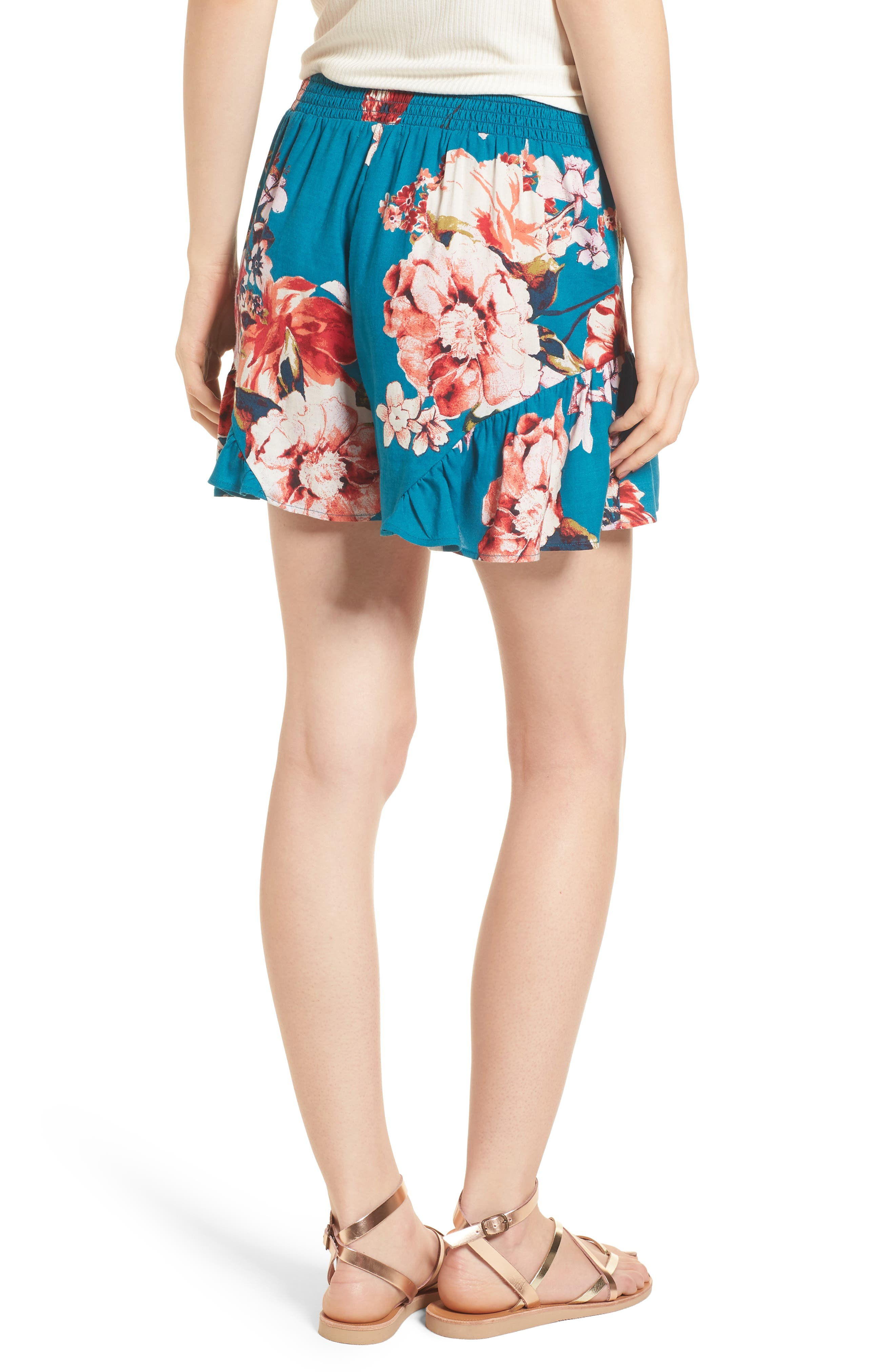 Floral Print Ruffle Hem Shorts,                             Alternate thumbnail 3, color,                             Teal/ Peach