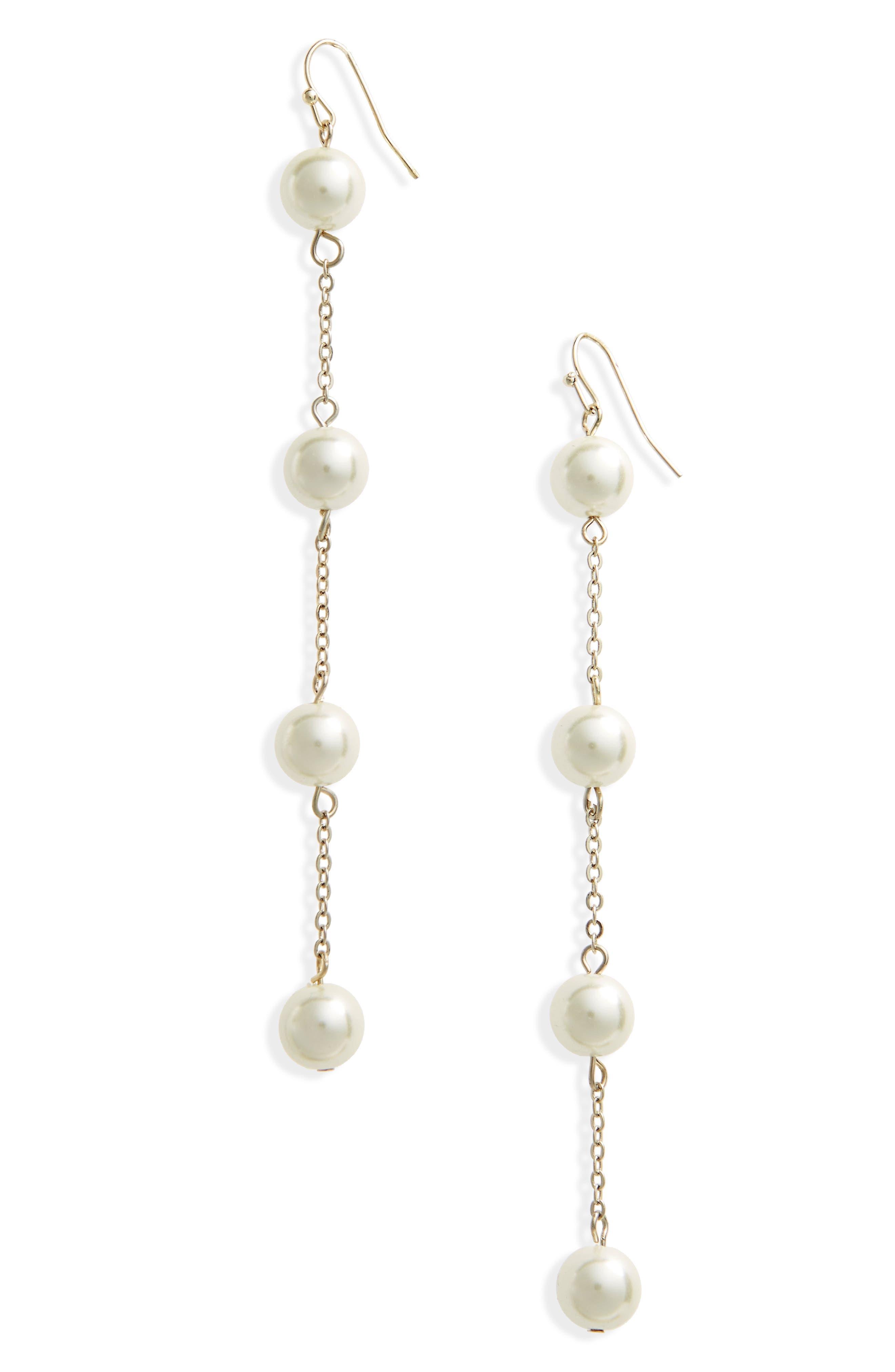 Imitation Pearl Drop Earrings,                             Main thumbnail 1, color,                             Cream