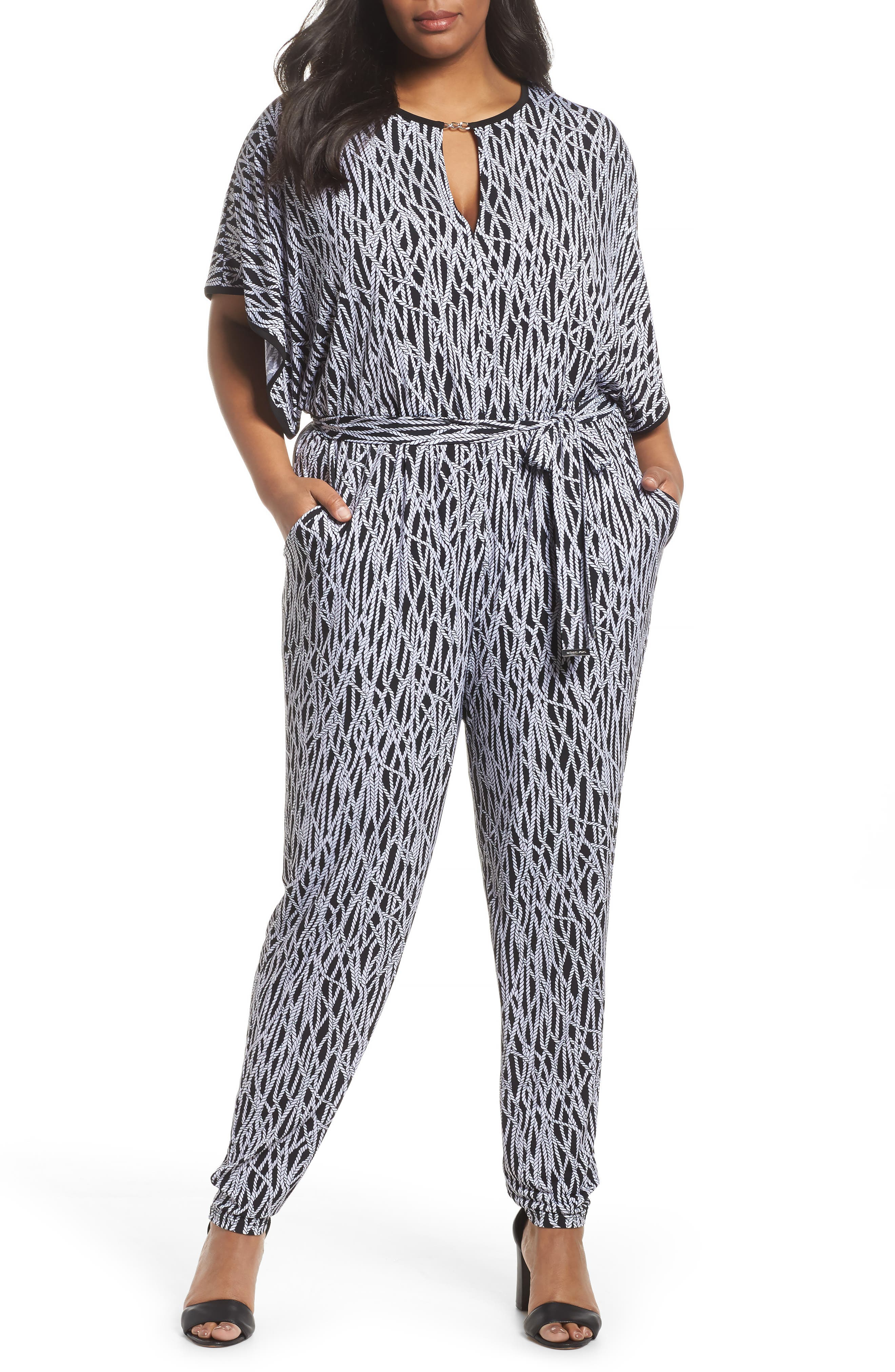 MICHAEL Michael Kors Chained Keyhole Neck Jumpsuit (Plus Size)