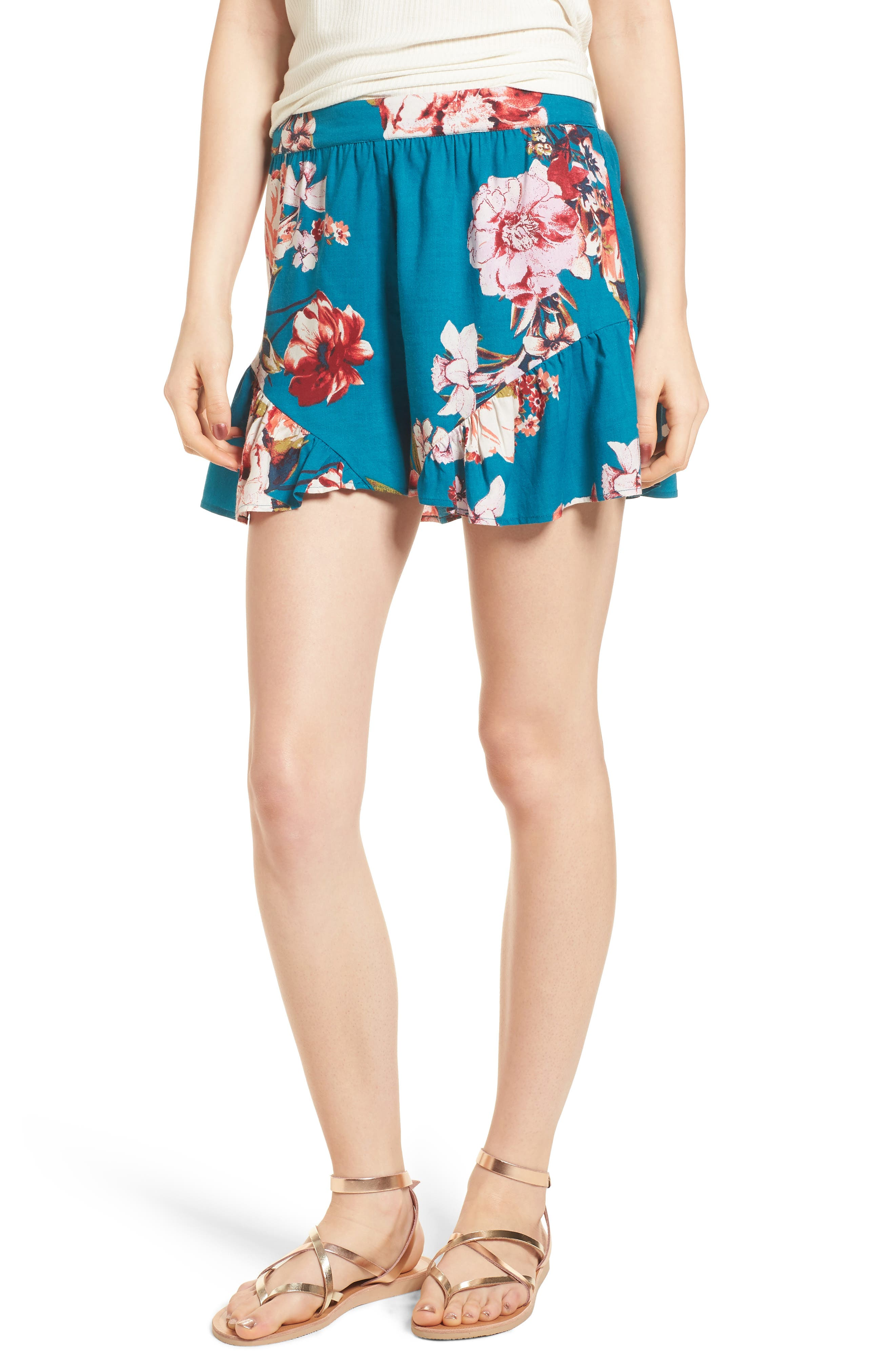 Floral Print Ruffle Hem Shorts,                             Main thumbnail 1, color,                             Teal/ Peach