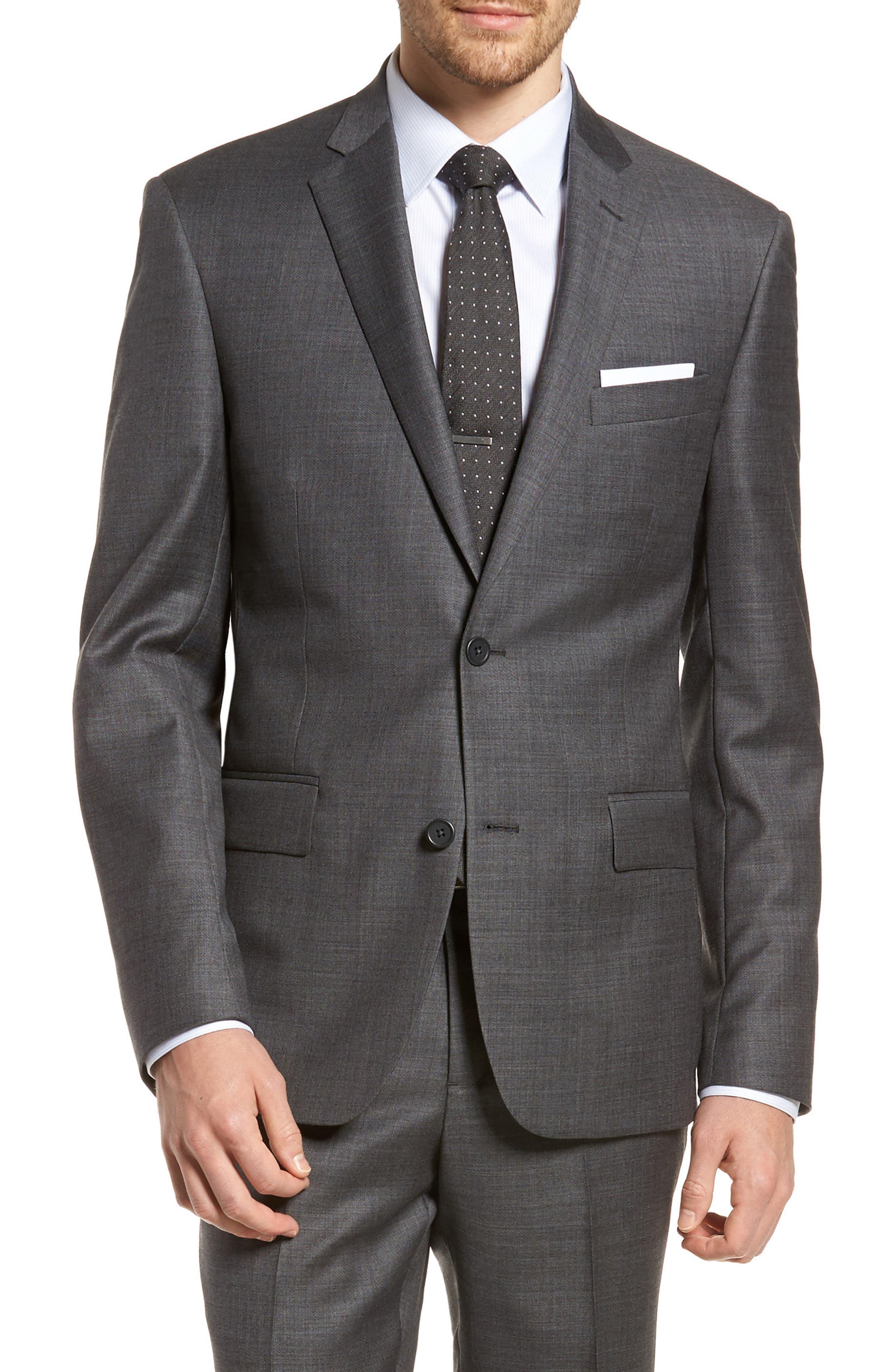 Trim Fit Sharkskin Wool Suit,                             Alternate thumbnail 5, color,                             Mid Char