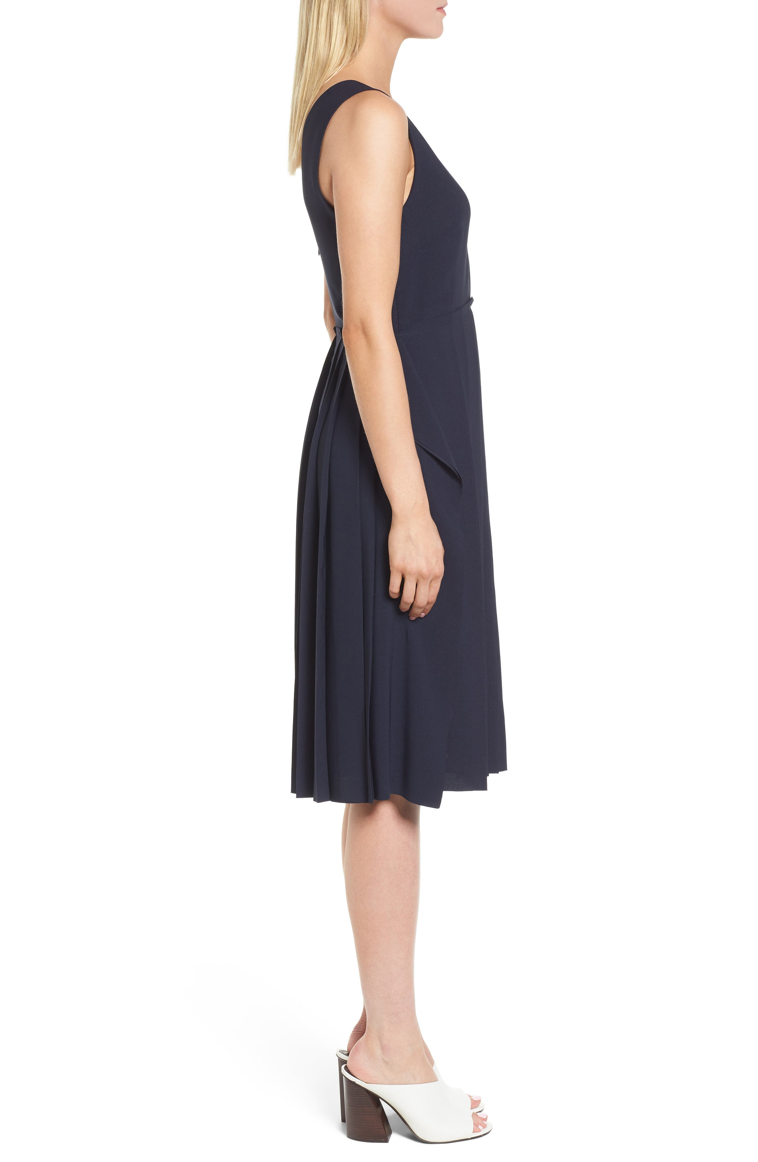 Pleated Fit & Flare Dress,                             Alternate thumbnail 3, color,                             Navy Night