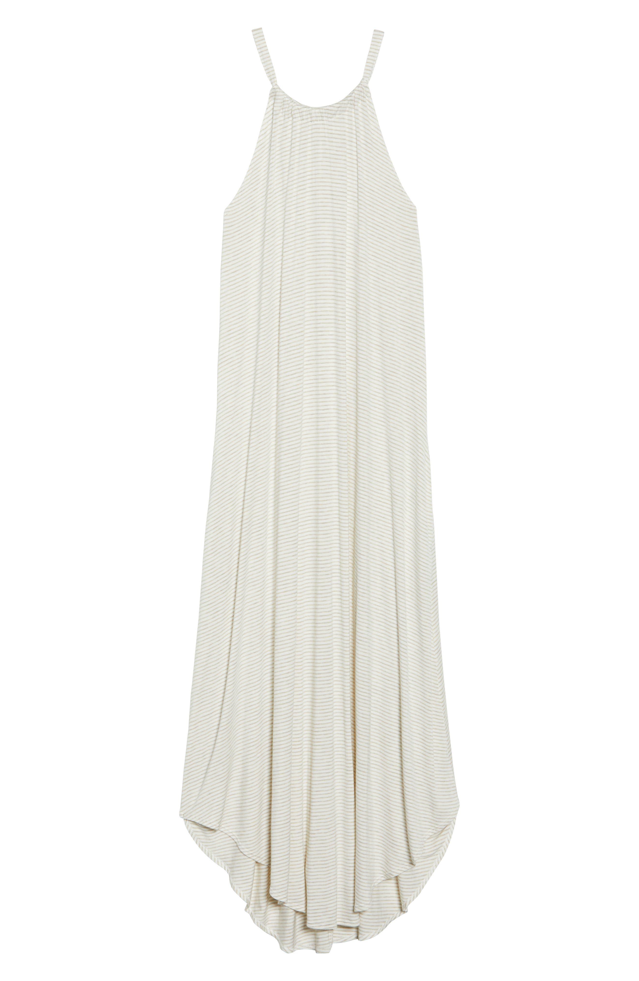 High Neck Cover-Up Dress,                             Alternate thumbnail 6, color,                             Natural Stripe