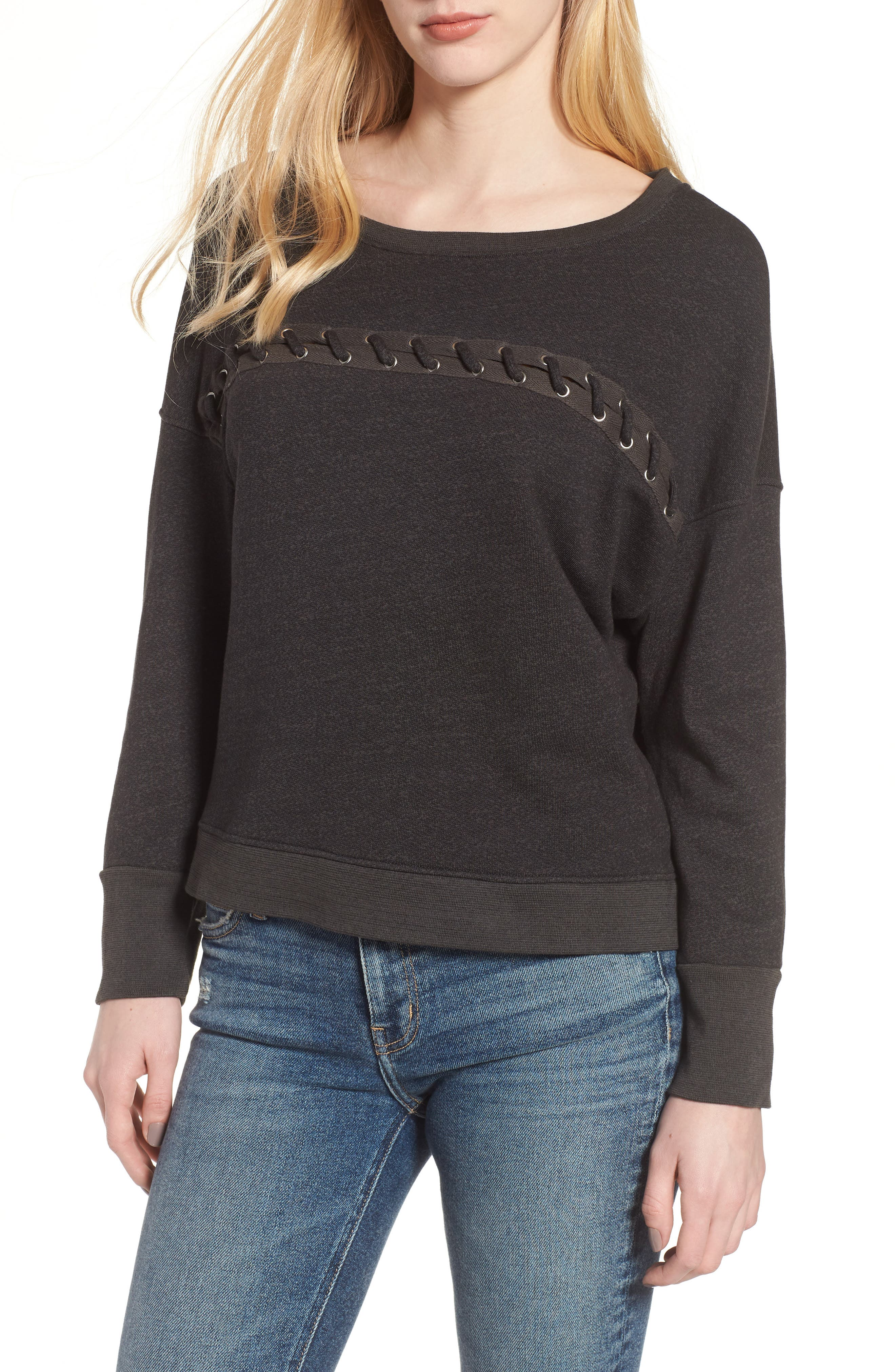 Karma Lace-Up Pullover,                         Main,                         color, Old Black