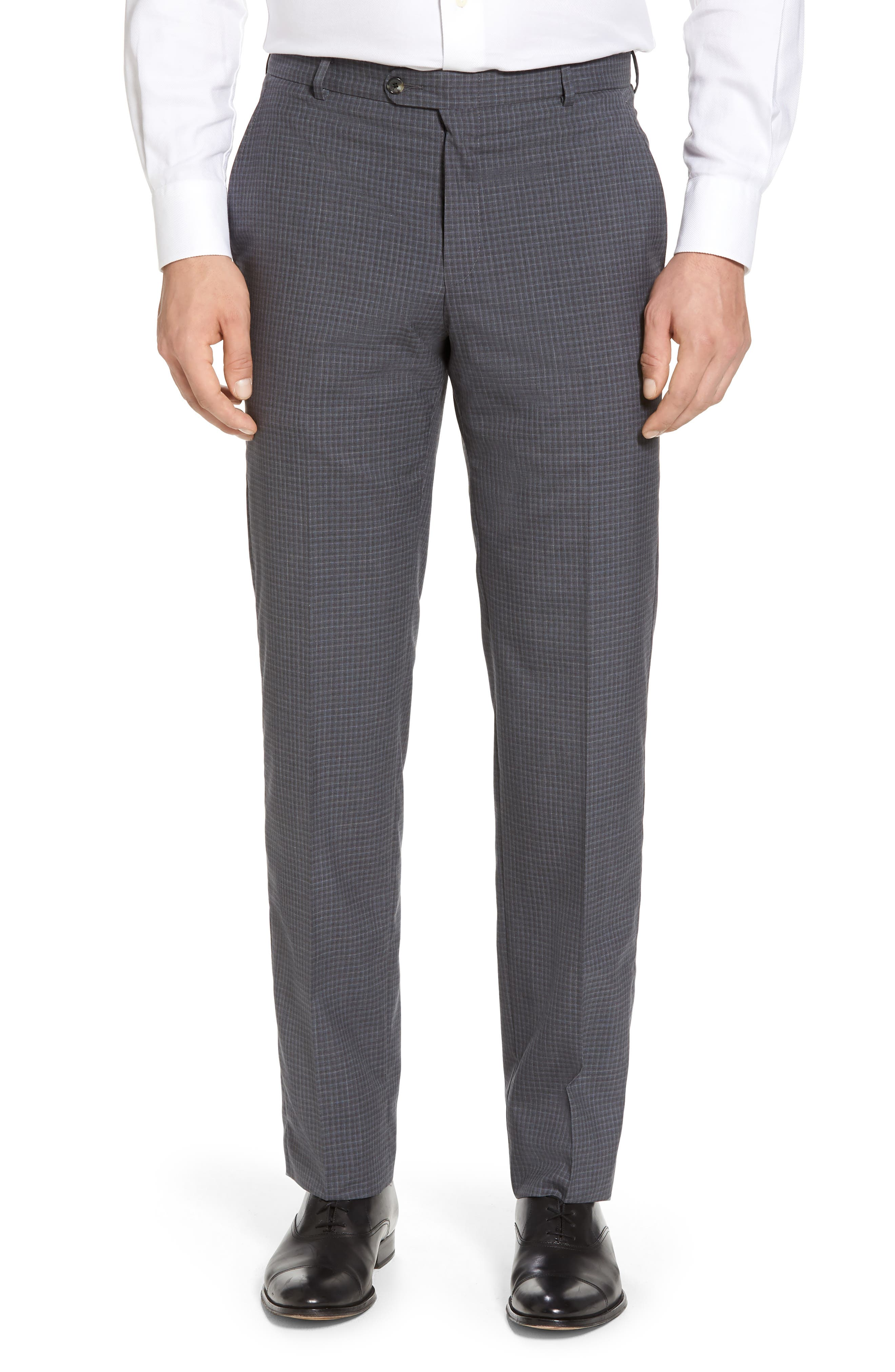 Classic B Fit Check Wool Suit,                             Alternate thumbnail 6, color,                             Charcoal