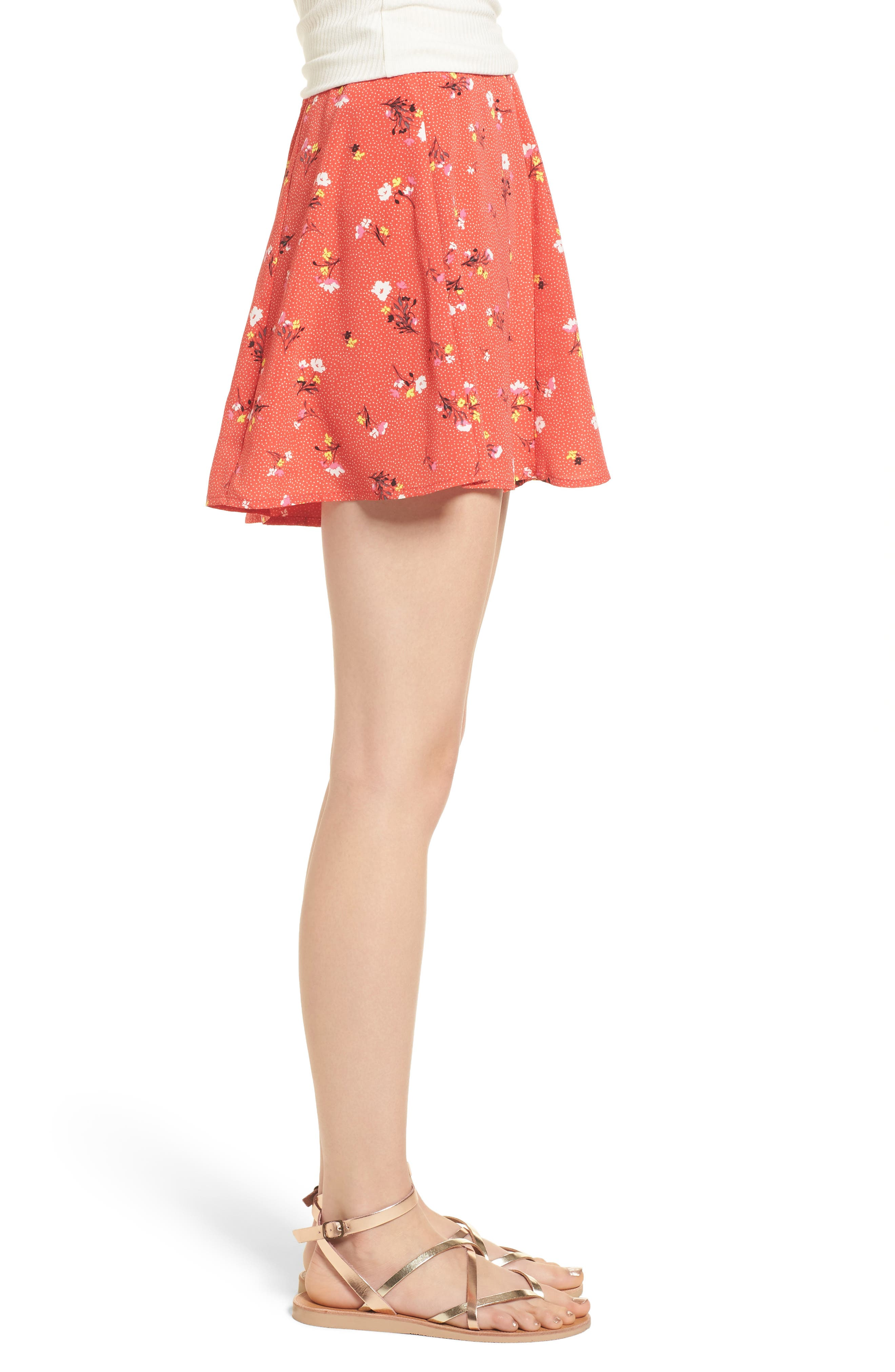Print High Waist Shorts,                             Alternate thumbnail 4, color,                             Red Dot Floral
