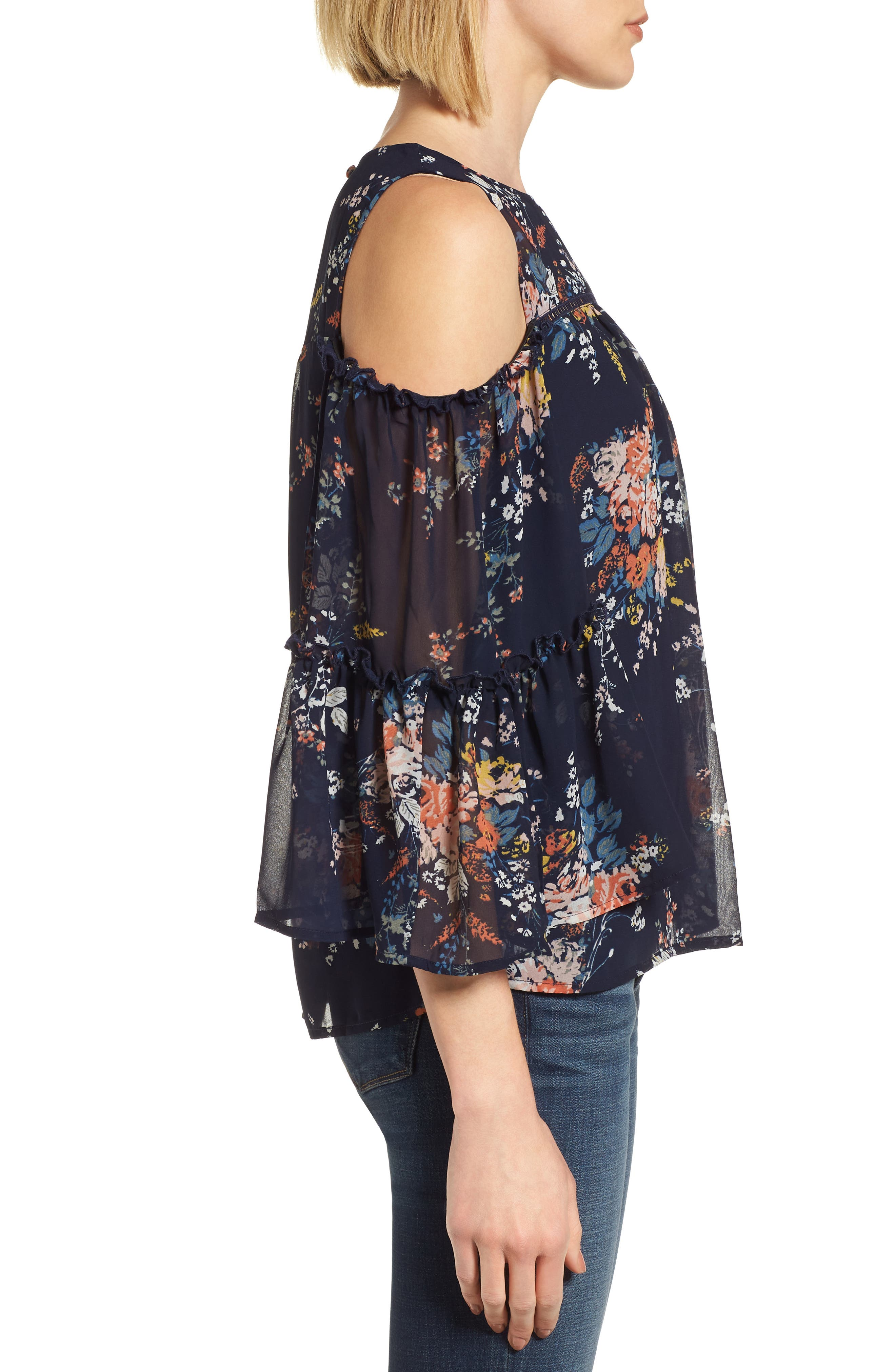 Cold Shoulder Floral Top,                             Alternate thumbnail 3, color,                             Navy Multi