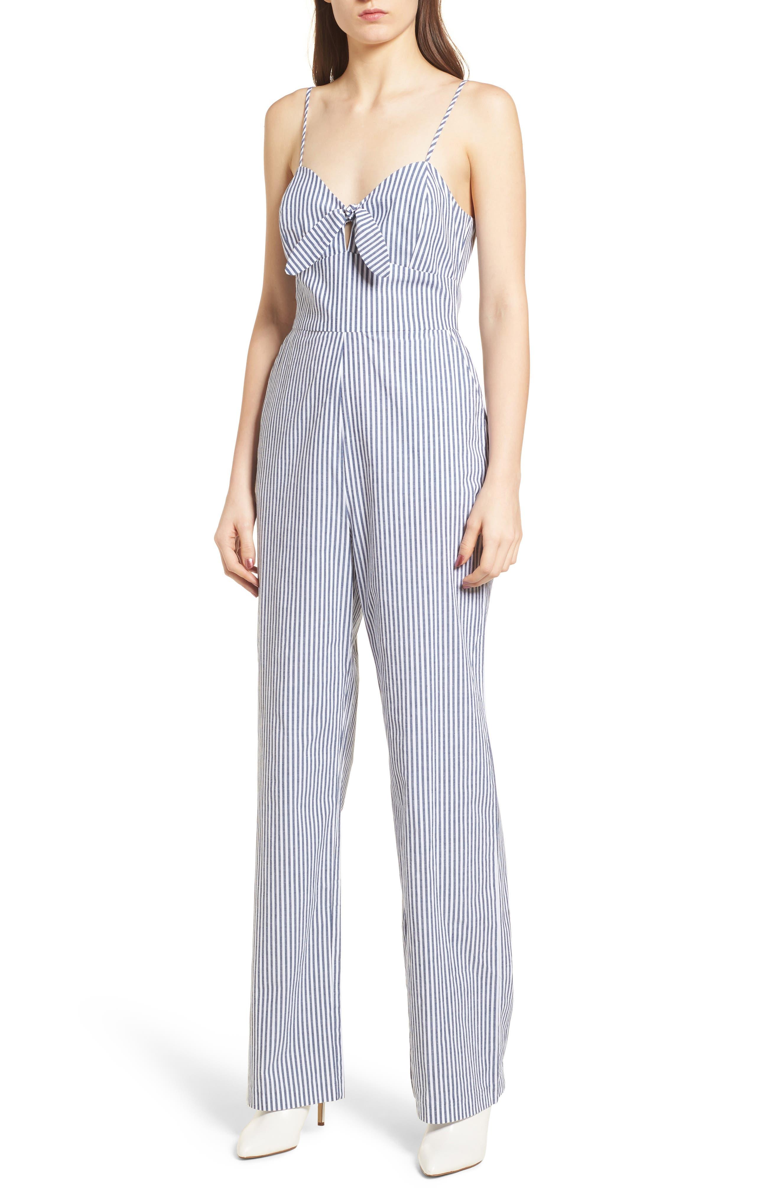 Tie Front Jumpsuit,                         Main,                         color, Blue-White Stripe