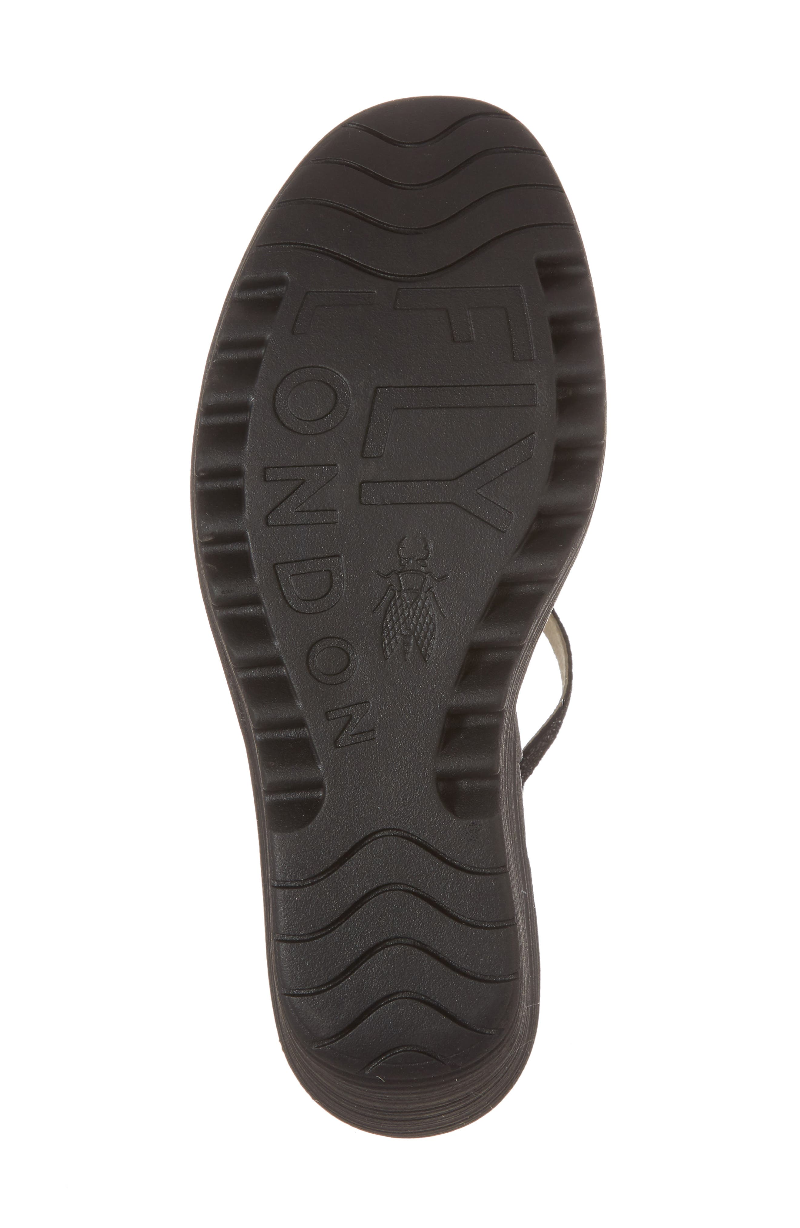 Yora Wedge Sandal,                             Alternate thumbnail 6, color,                             Black/ Graphite Leather