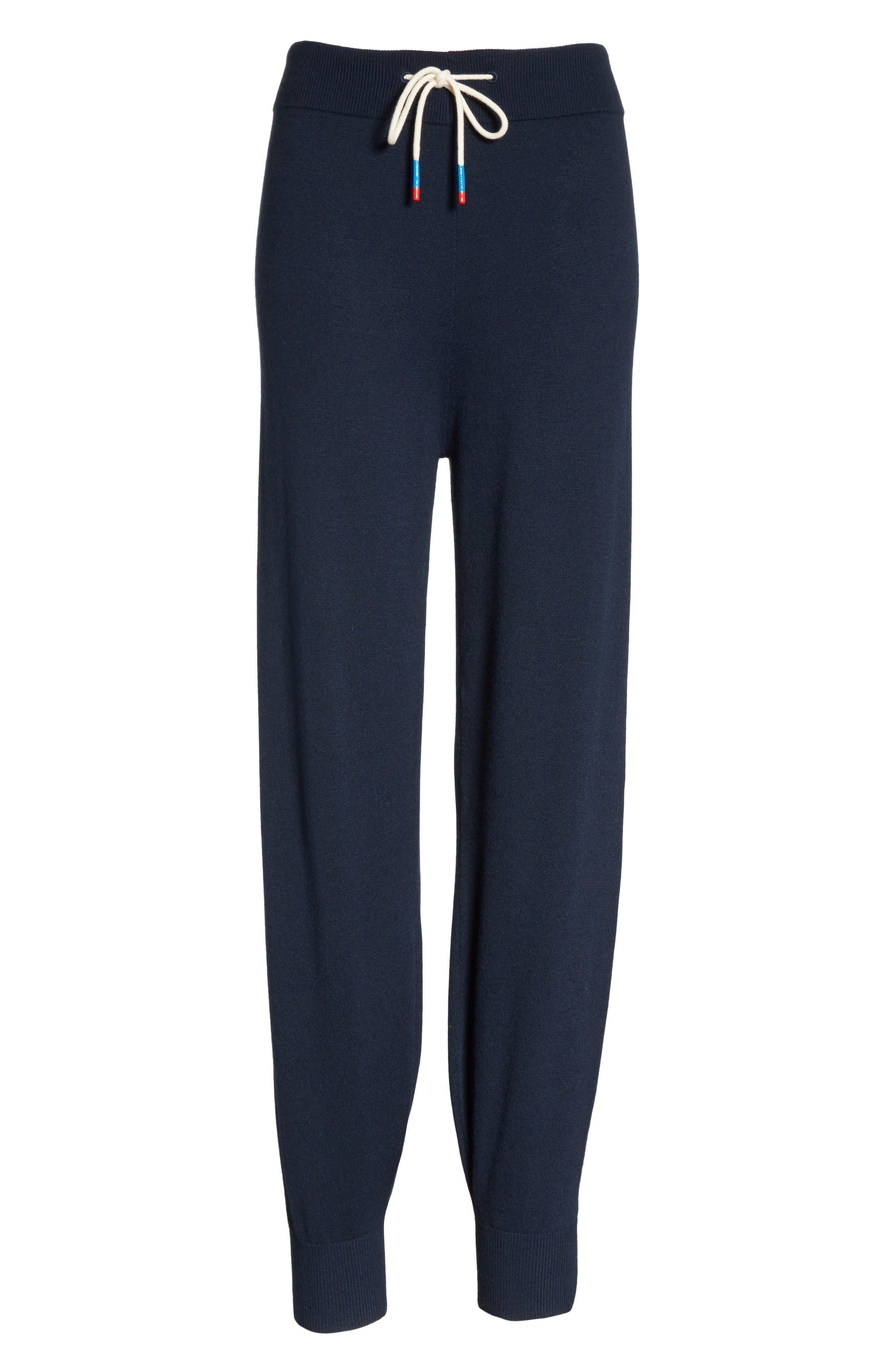 Performance Cashmere Blend Lounge Pants,                             Alternate thumbnail 7, color,                             Tory Navy