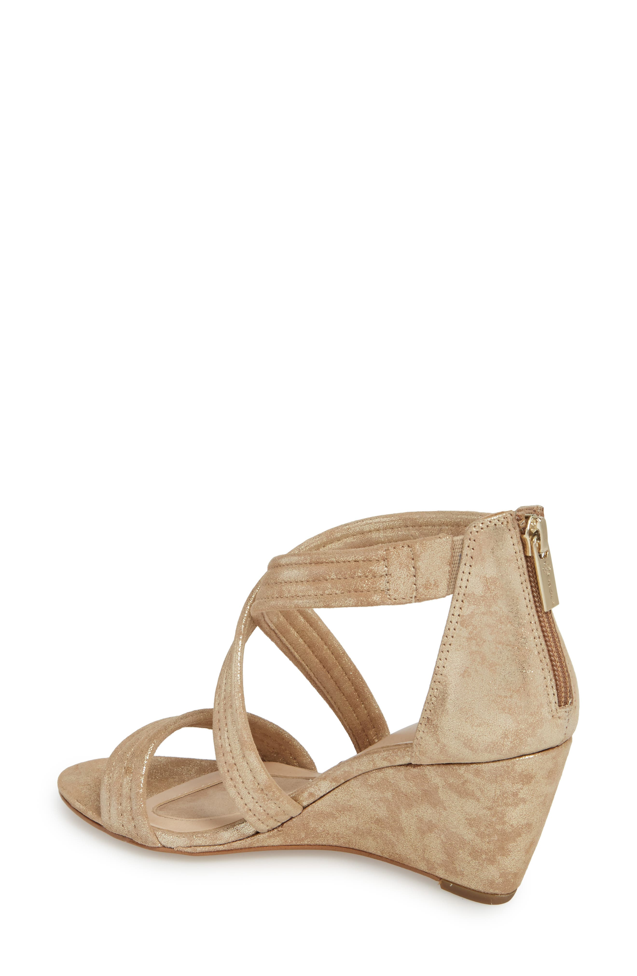Fia Wedge Sandal,                             Alternate thumbnail 2, color,                             Platino Distressed Suede