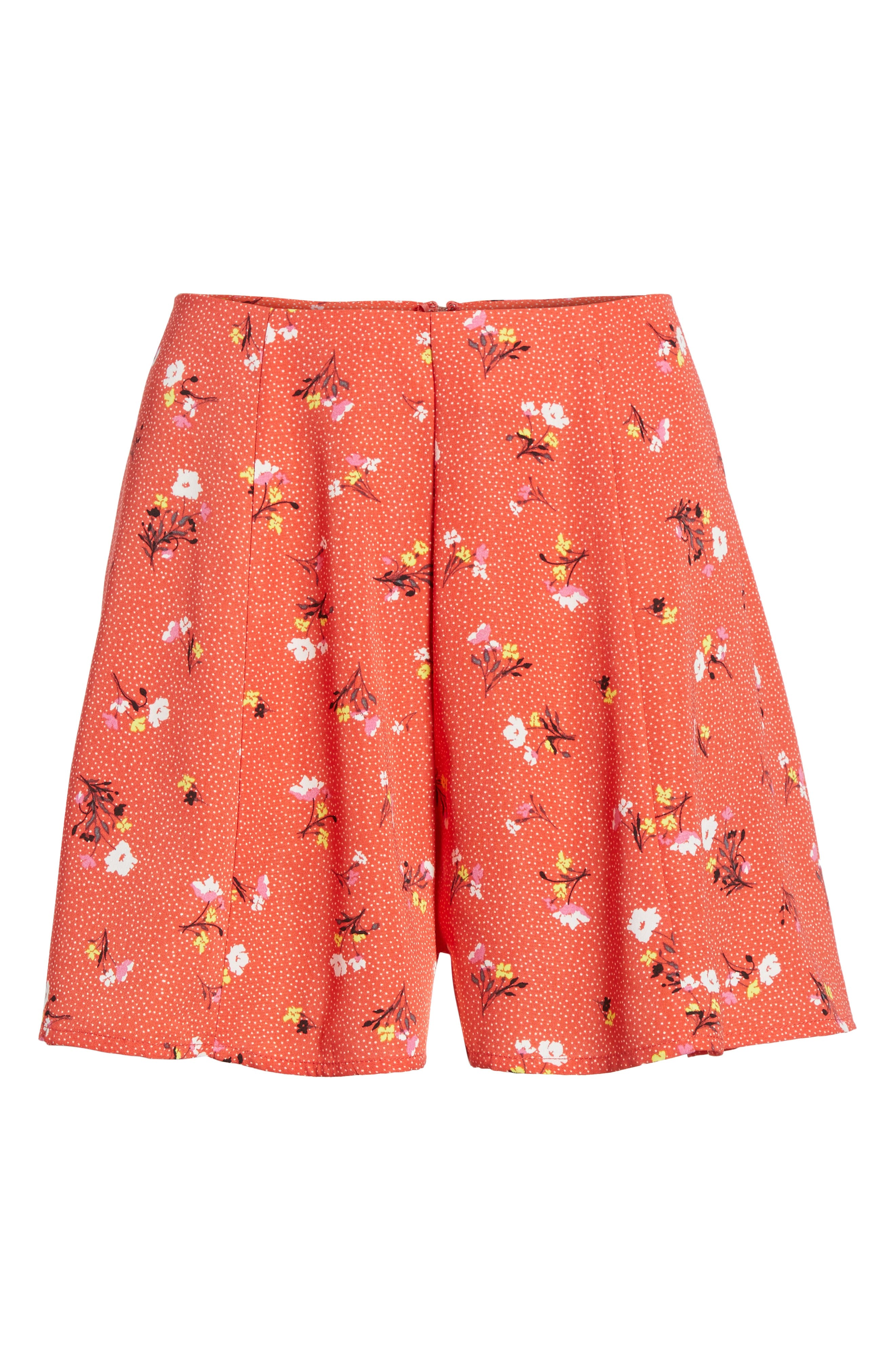Print High Waist Shorts,                             Alternate thumbnail 7, color,                             Red Dot Floral