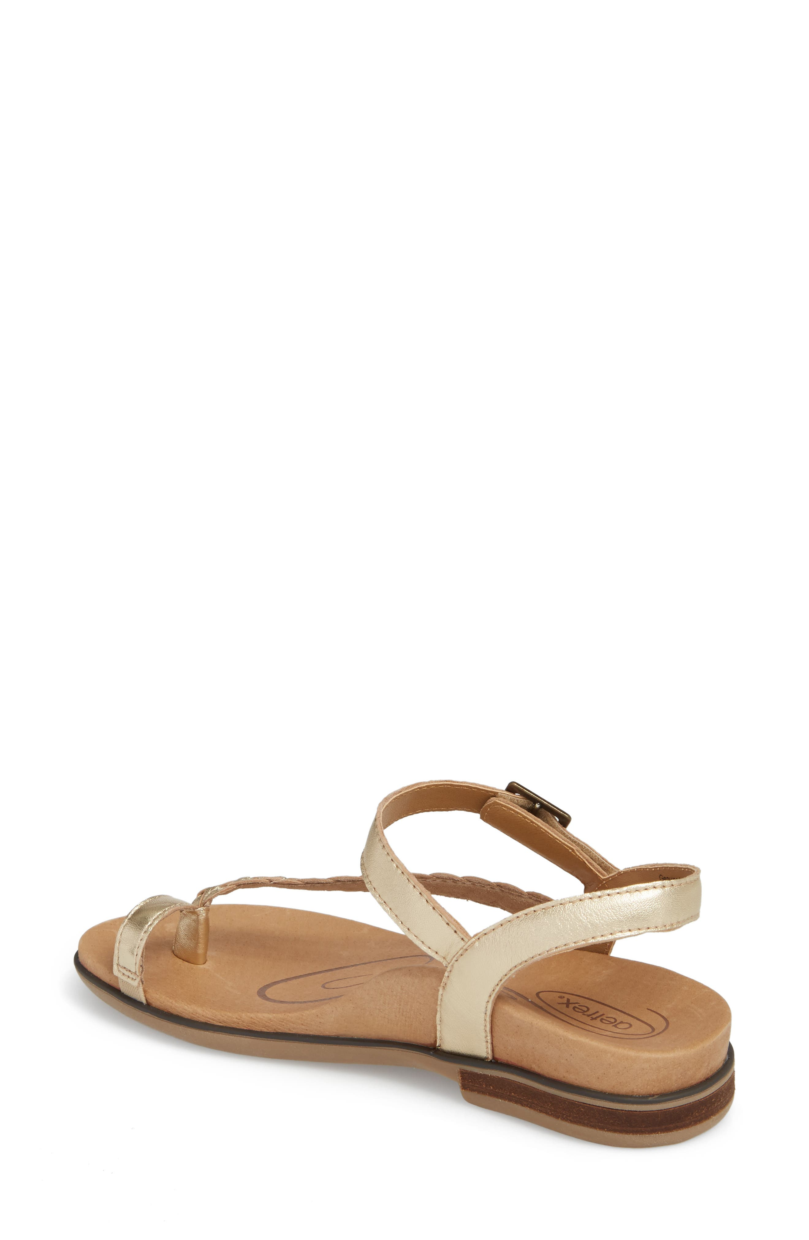 Evie Braided Strap Sandal,                             Alternate thumbnail 2, color,                             Gold Leather